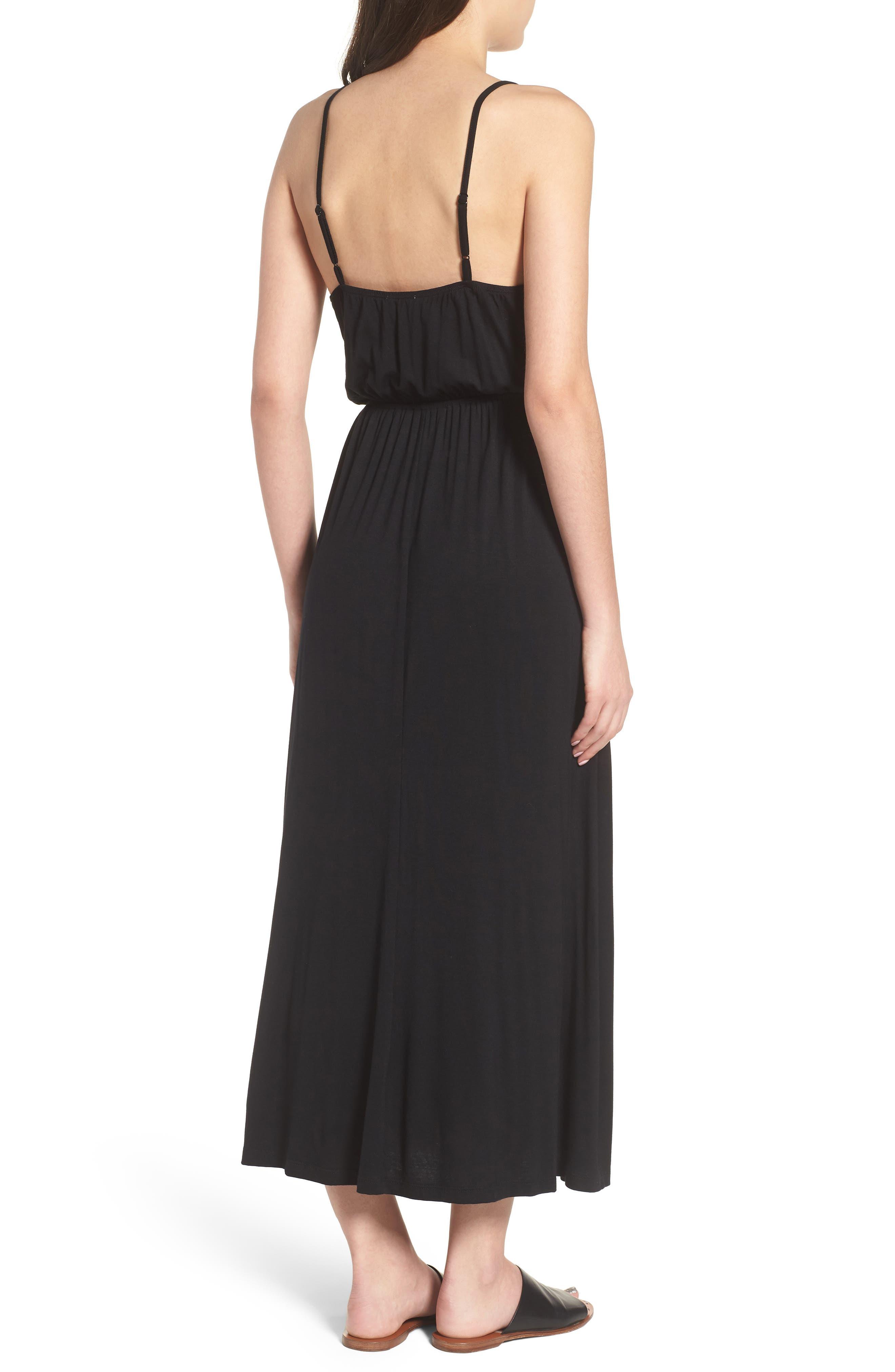 V-Neck Maxi Dress,                             Alternate thumbnail 2, color,                             001