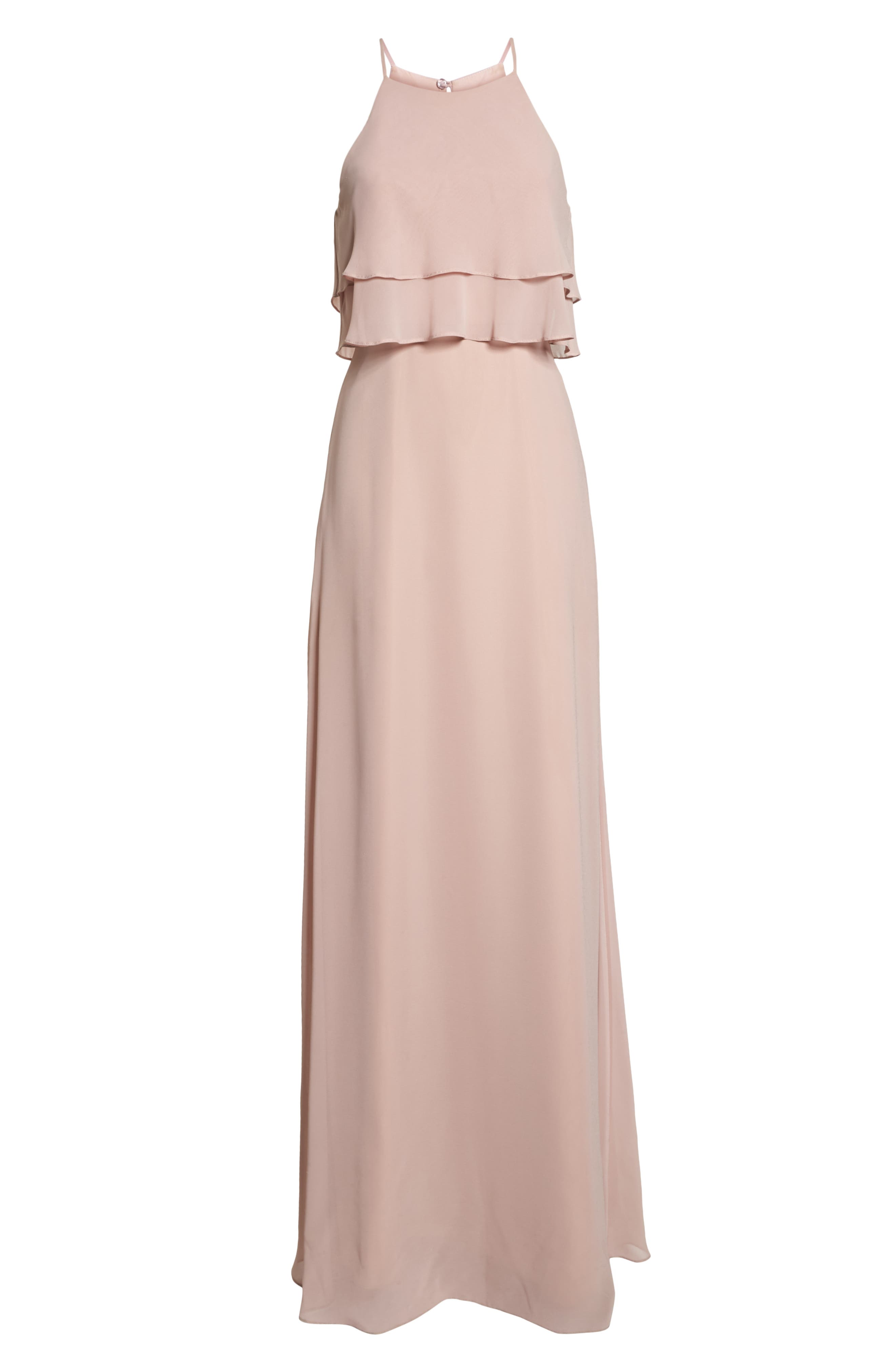 Charlie Ruffle Chiffon Gown,                             Alternate thumbnail 7, color,                             WHIPPED APRICOT