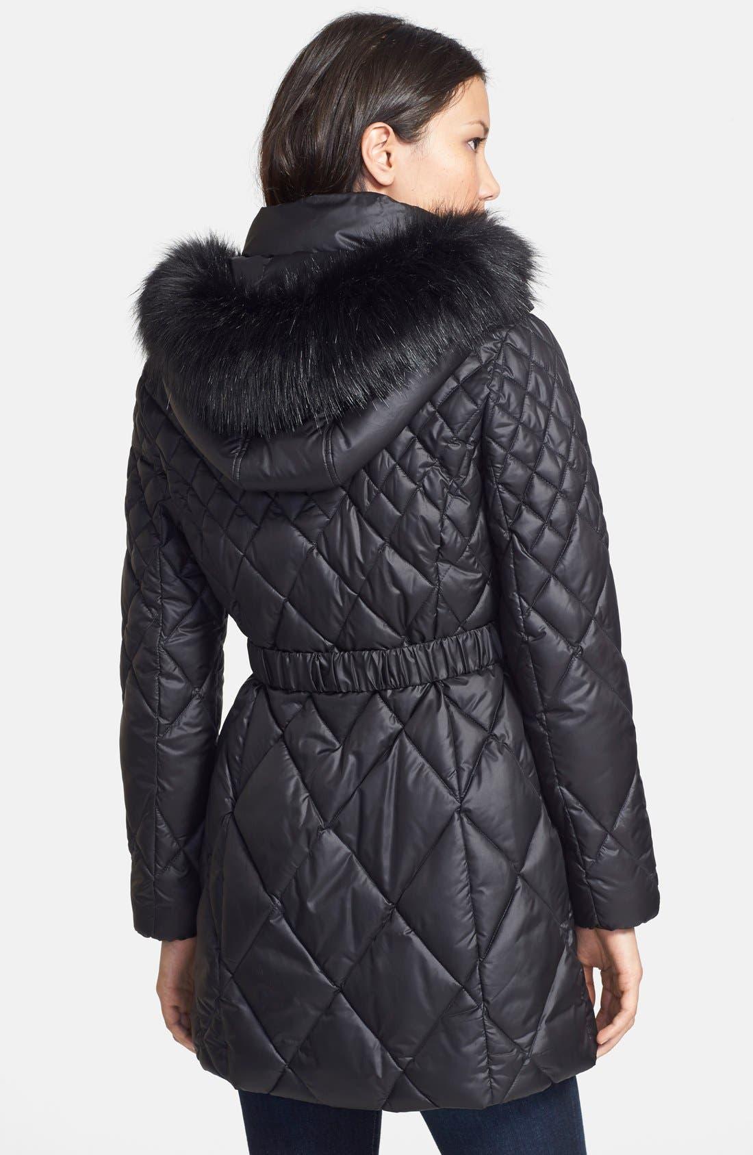 Faux Fur Trim Diamond Quilted Coat,                             Alternate thumbnail 2, color,                             001