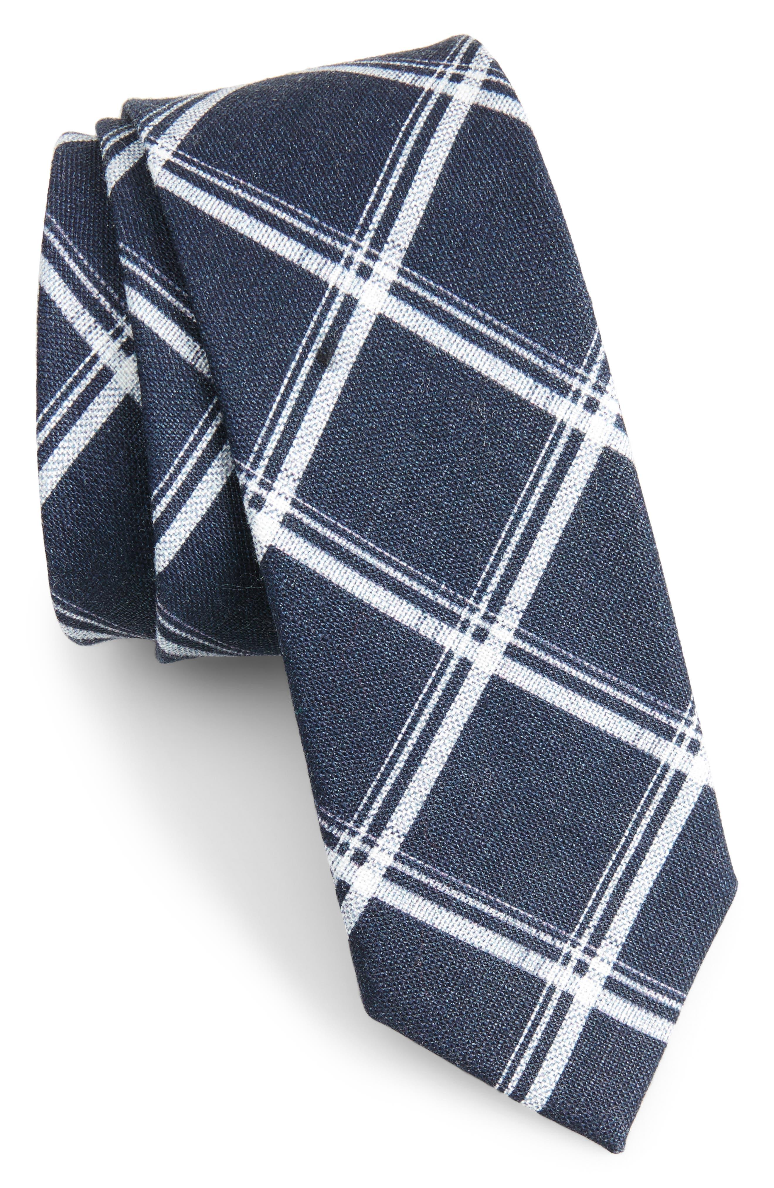 Jet Plaid Linen Skinny Tie,                             Main thumbnail 2, color,