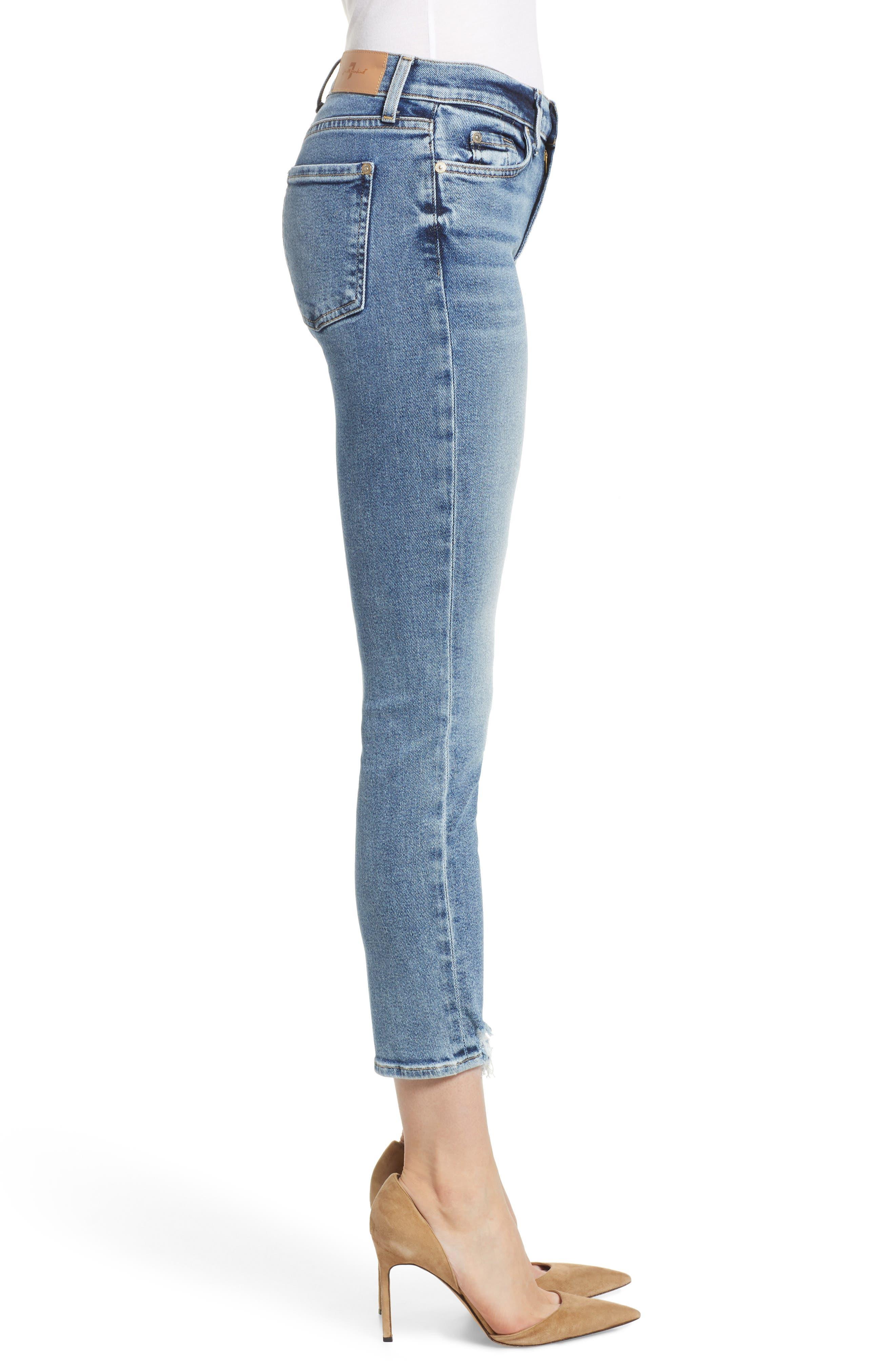 Luxe Vintage Roxanne Rip Hem Ankle Slim Jeans,                             Alternate thumbnail 3, color,                             401