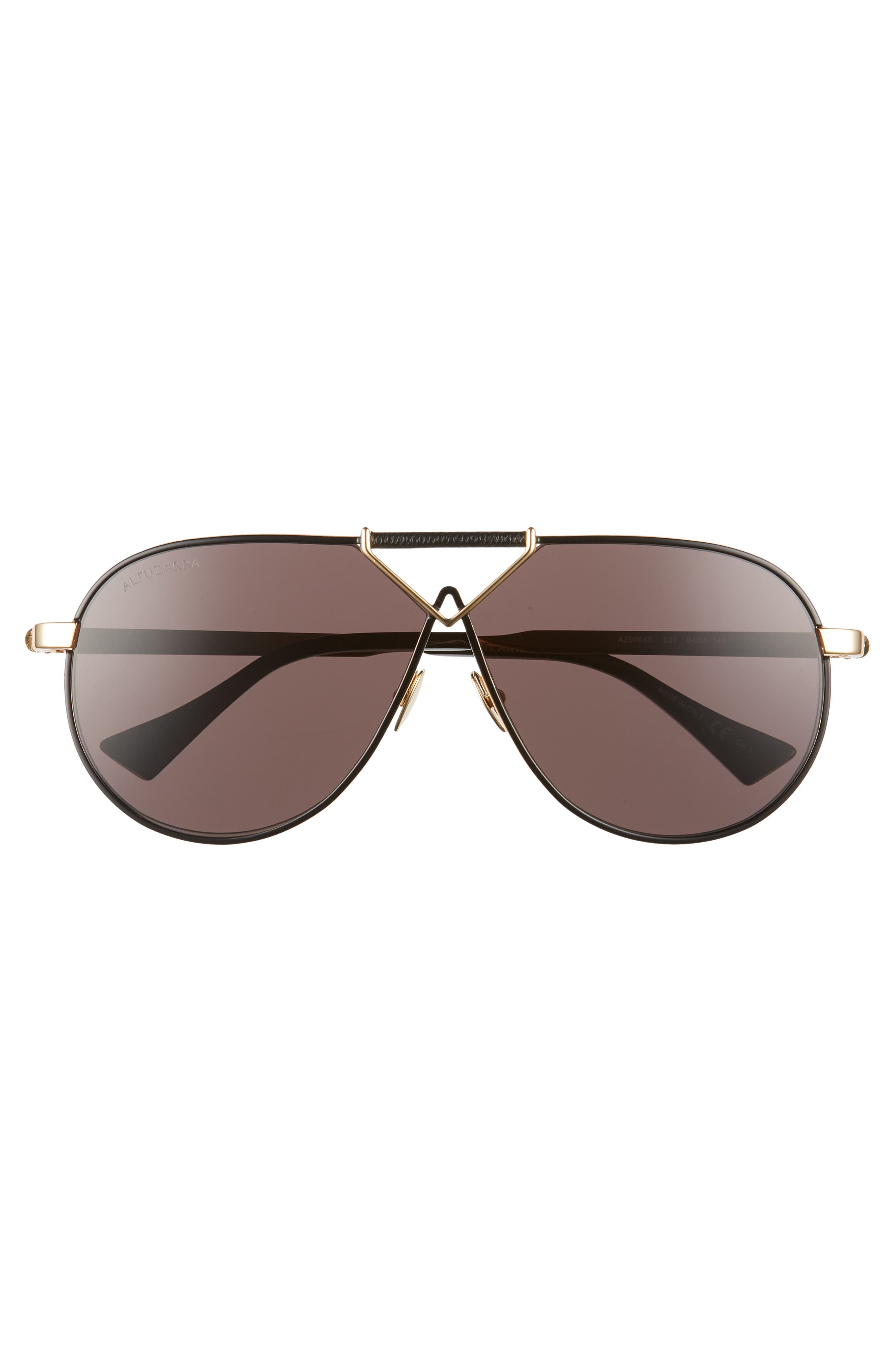 ALTUZARRA,                             64mm Aviator Sunglasses,                             Alternate thumbnail 3, color,                             BLACK/ GOLD