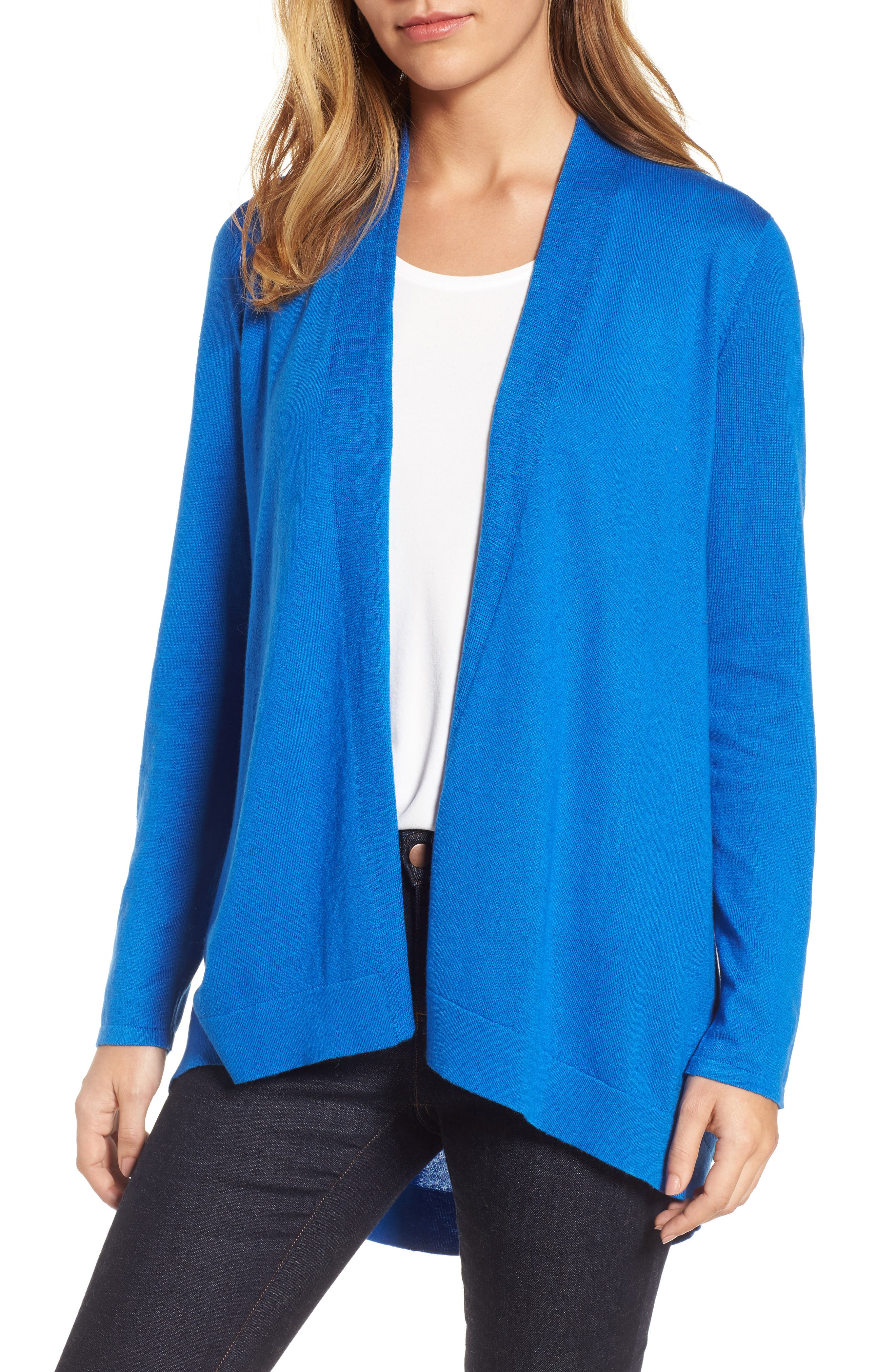 Tie Waist Tencel<sup>®</sup> Lyocell Blend Cardigan,                             Main thumbnail 5, color,