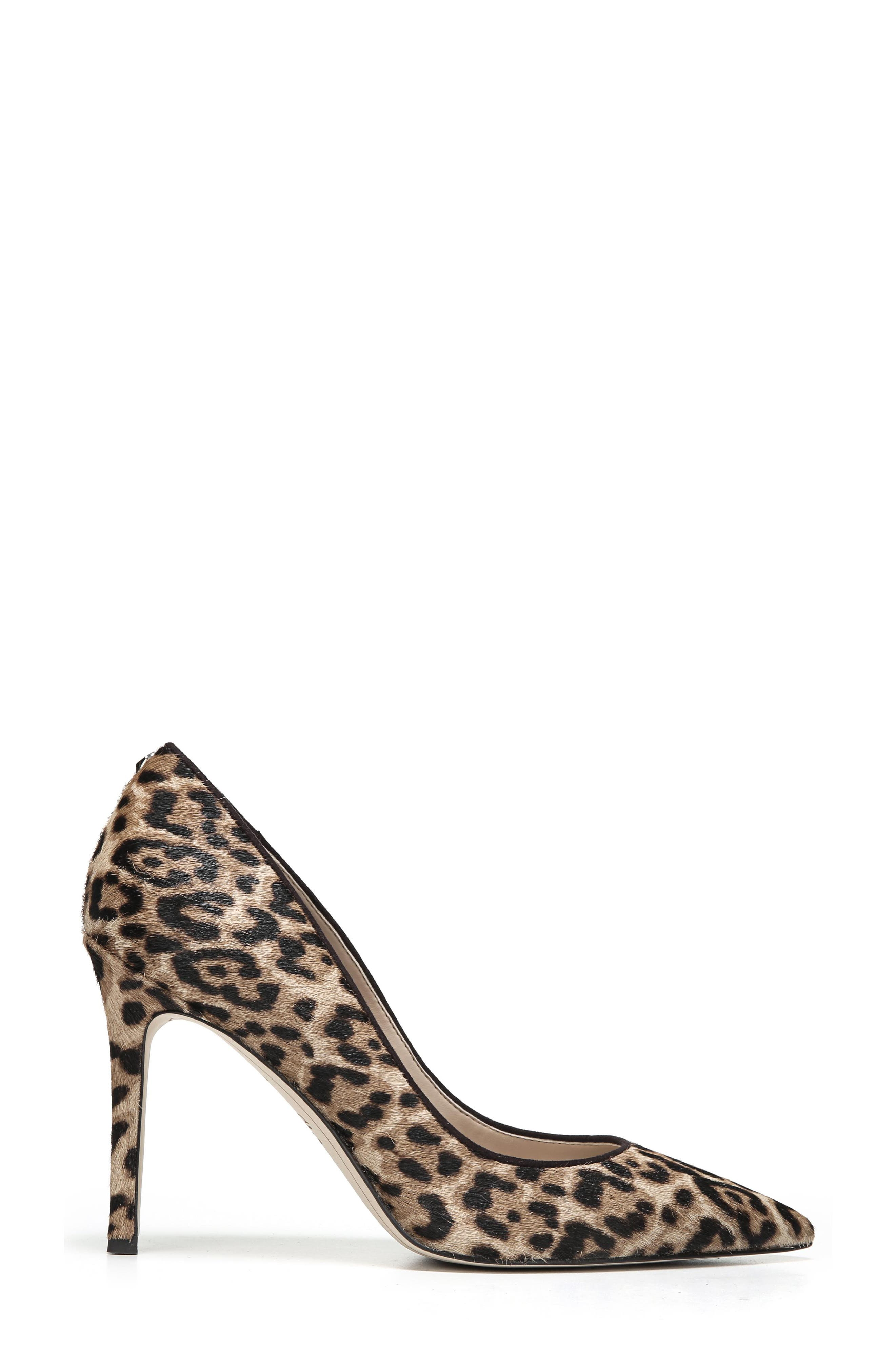 Hazel Pointy Toe Pump,                             Alternate thumbnail 3, color,                             LEOPARD CALF HAIR