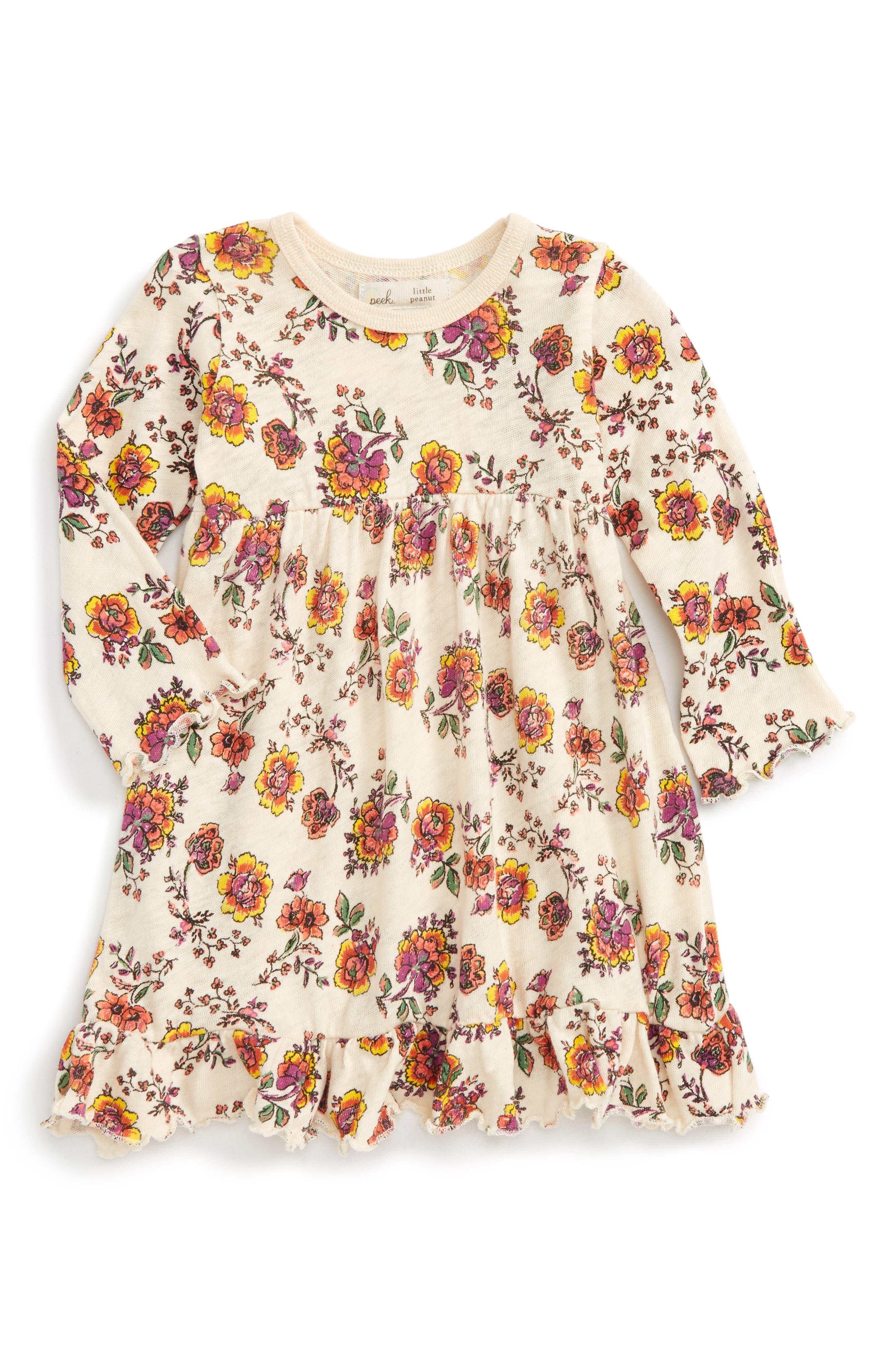 Peek Floral Print Dress,                             Main thumbnail 1, color,                             900