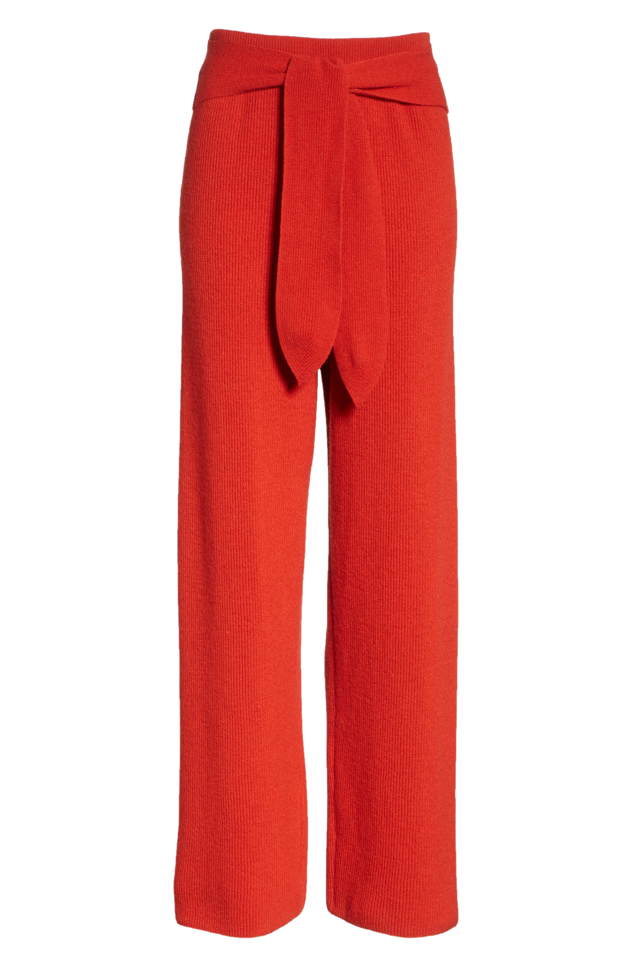 Tigre Merino Wool & Cashmere Blend Pants,                             Alternate thumbnail 6, color,                             RED