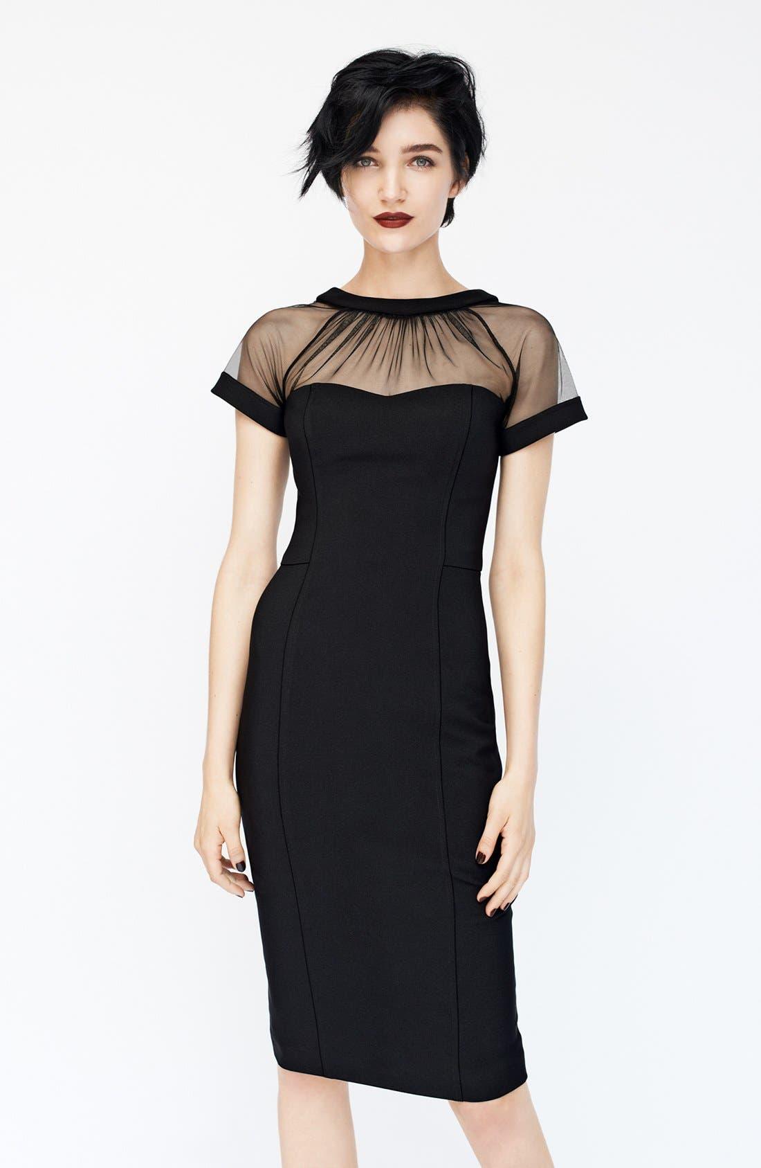 Illusion Yoke Crepe Sheath Dress,                             Main thumbnail 1, color,                             BLACK