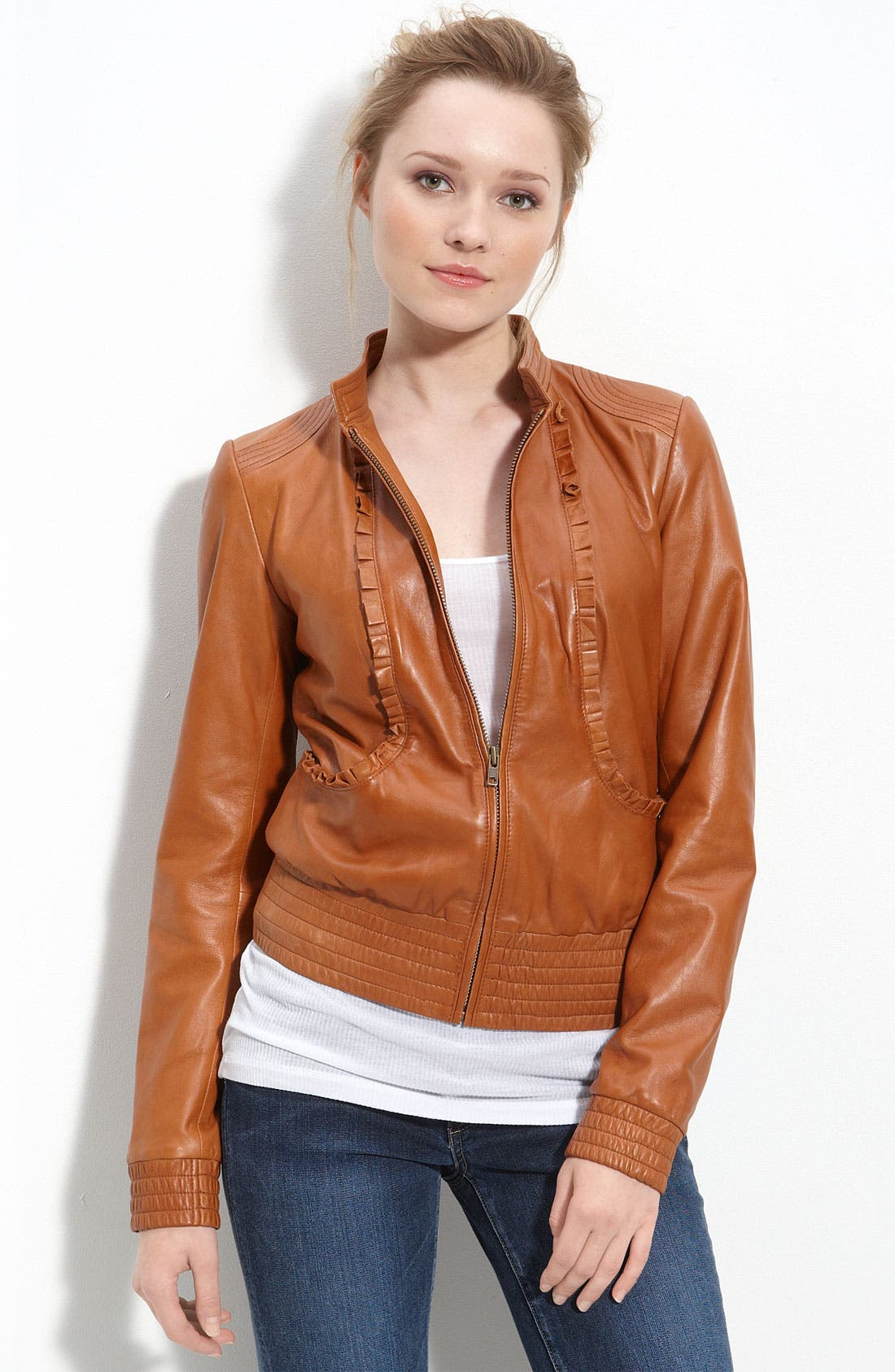 'Boho' Leather Jacket, Main, color, 200