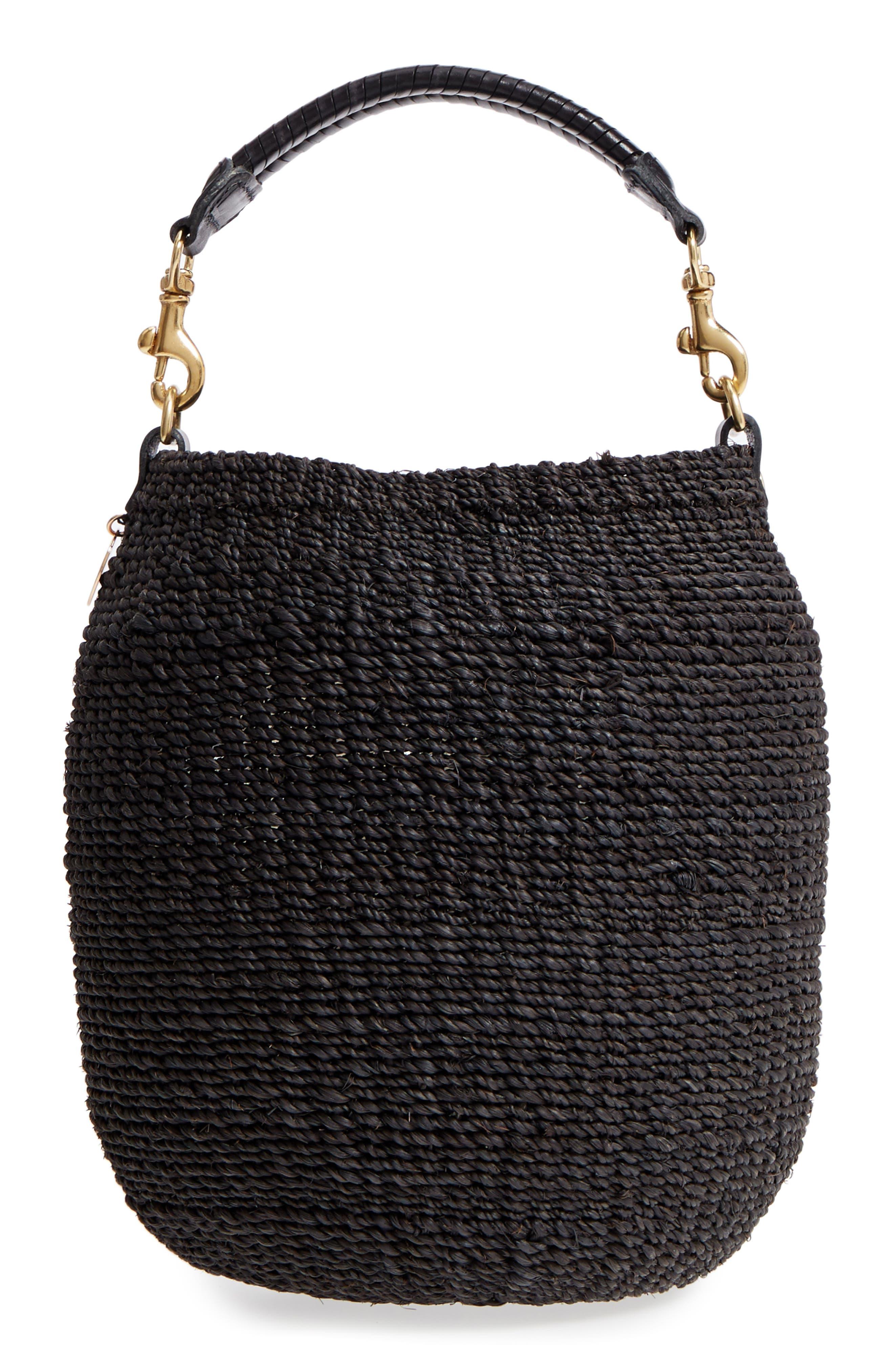Pot de Miel Top Handle Straw Basket Bag,                             Alternate thumbnail 3, color,                             001