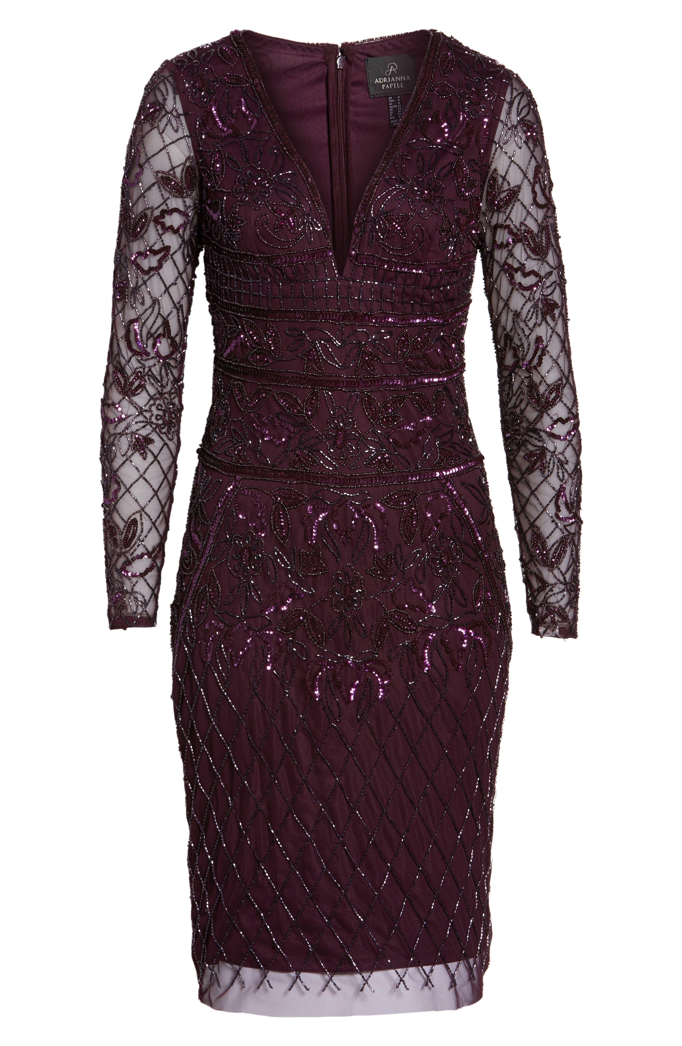 Embellished Deep V-Neck Sheath Dress,                             Alternate thumbnail 6, color,                             504