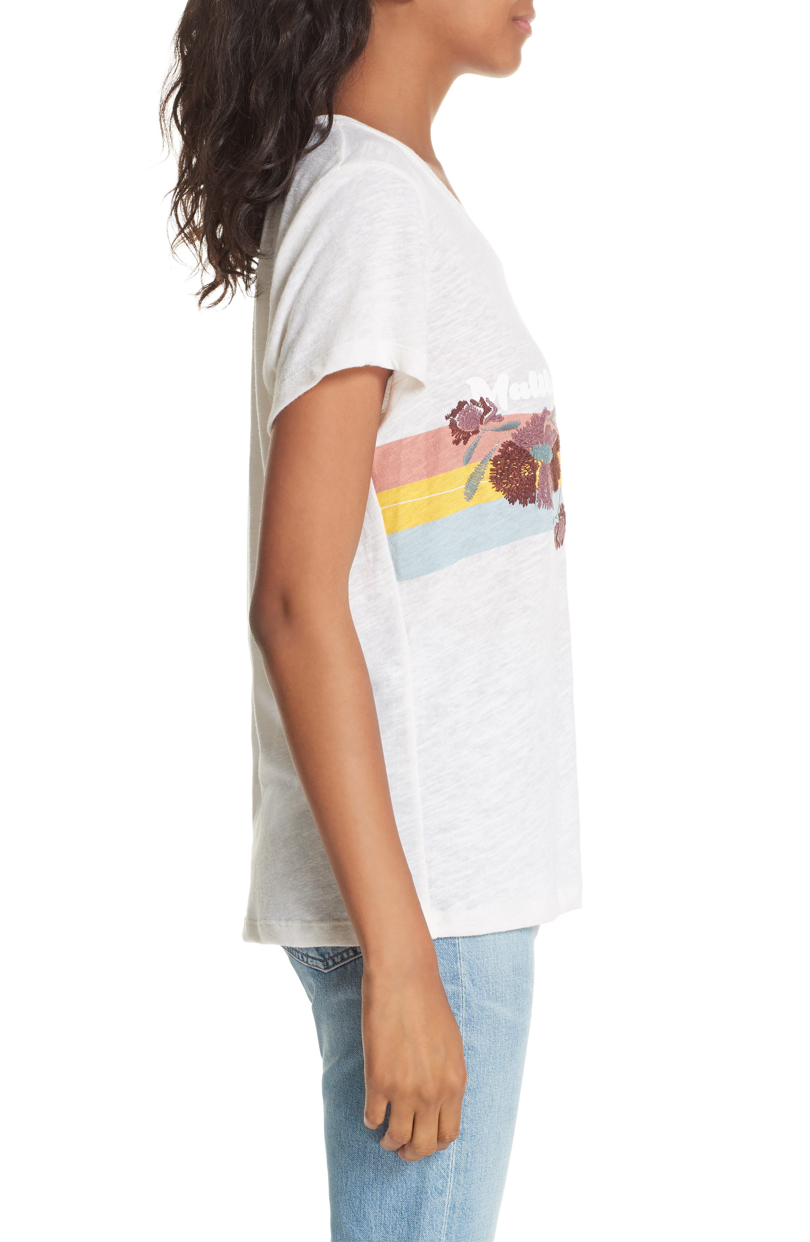 Malibu Embroidered Graphic Tee,                             Alternate thumbnail 3, color,                             IVORY