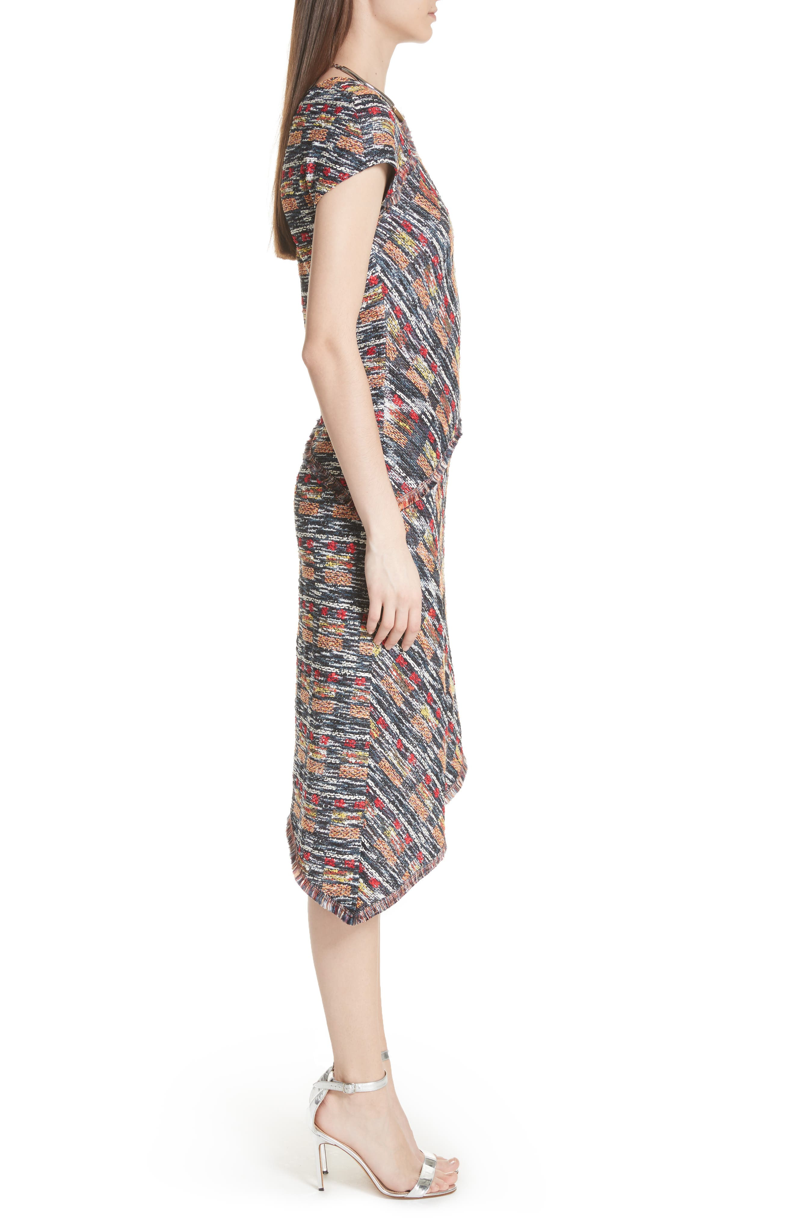 Painterly Tweed Knit Asymmetrical Dress,                             Alternate thumbnail 3, color,                             CAVIAR MULTI
