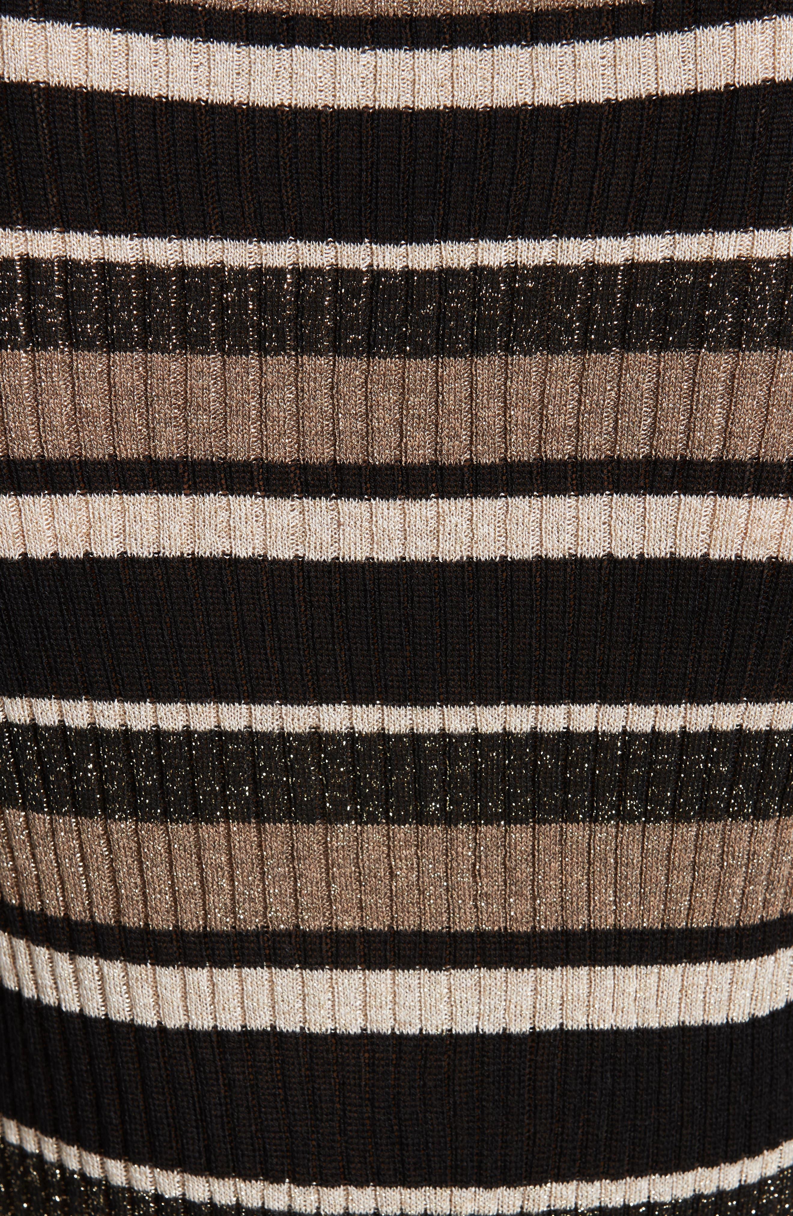 Ribbed Metallic Stripe Top,                             Alternate thumbnail 5, color,                             GOLD MULTI