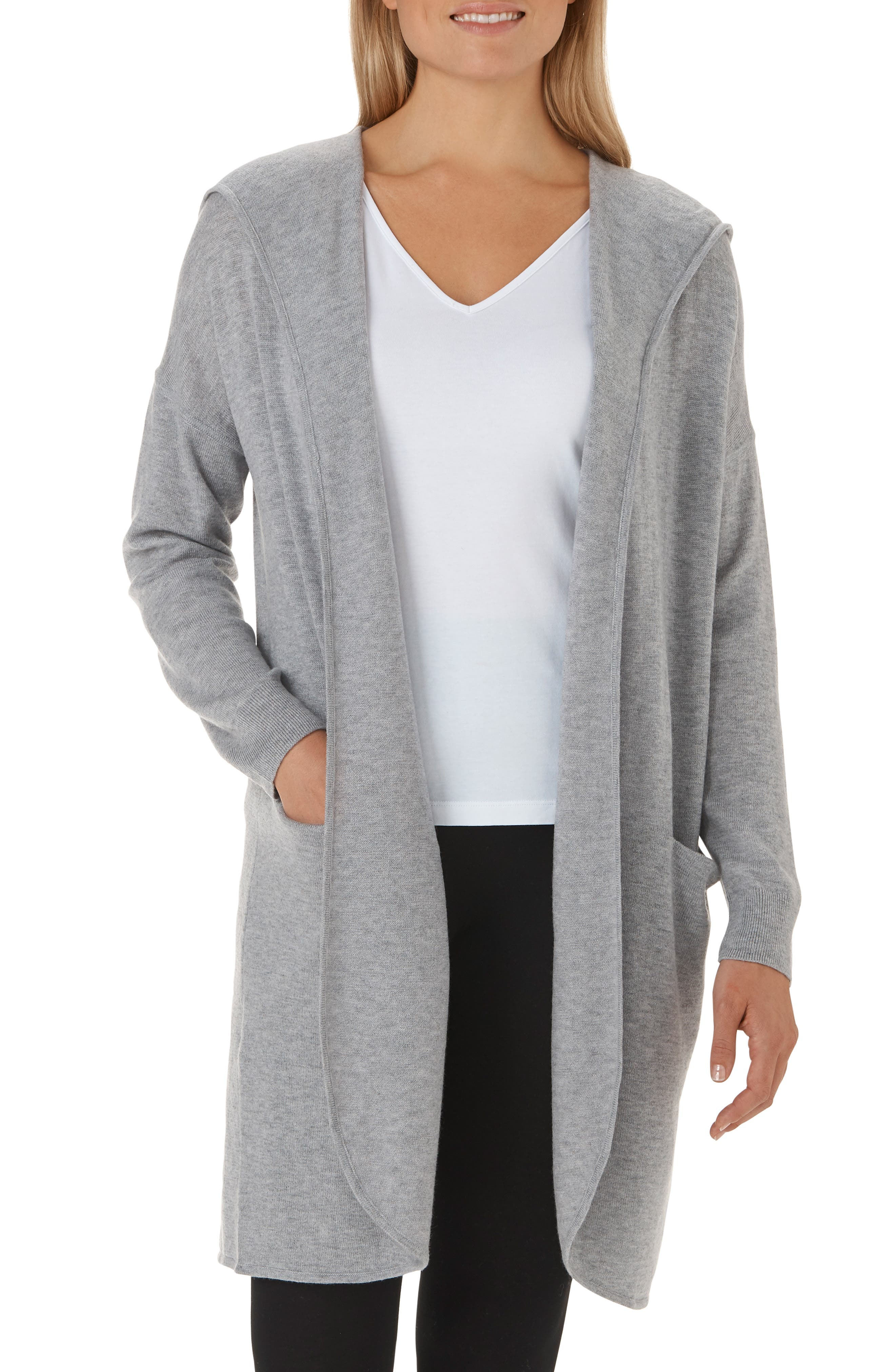 Wool & Cashmere Hooded Cardigan,                         Main,                         color, MGM