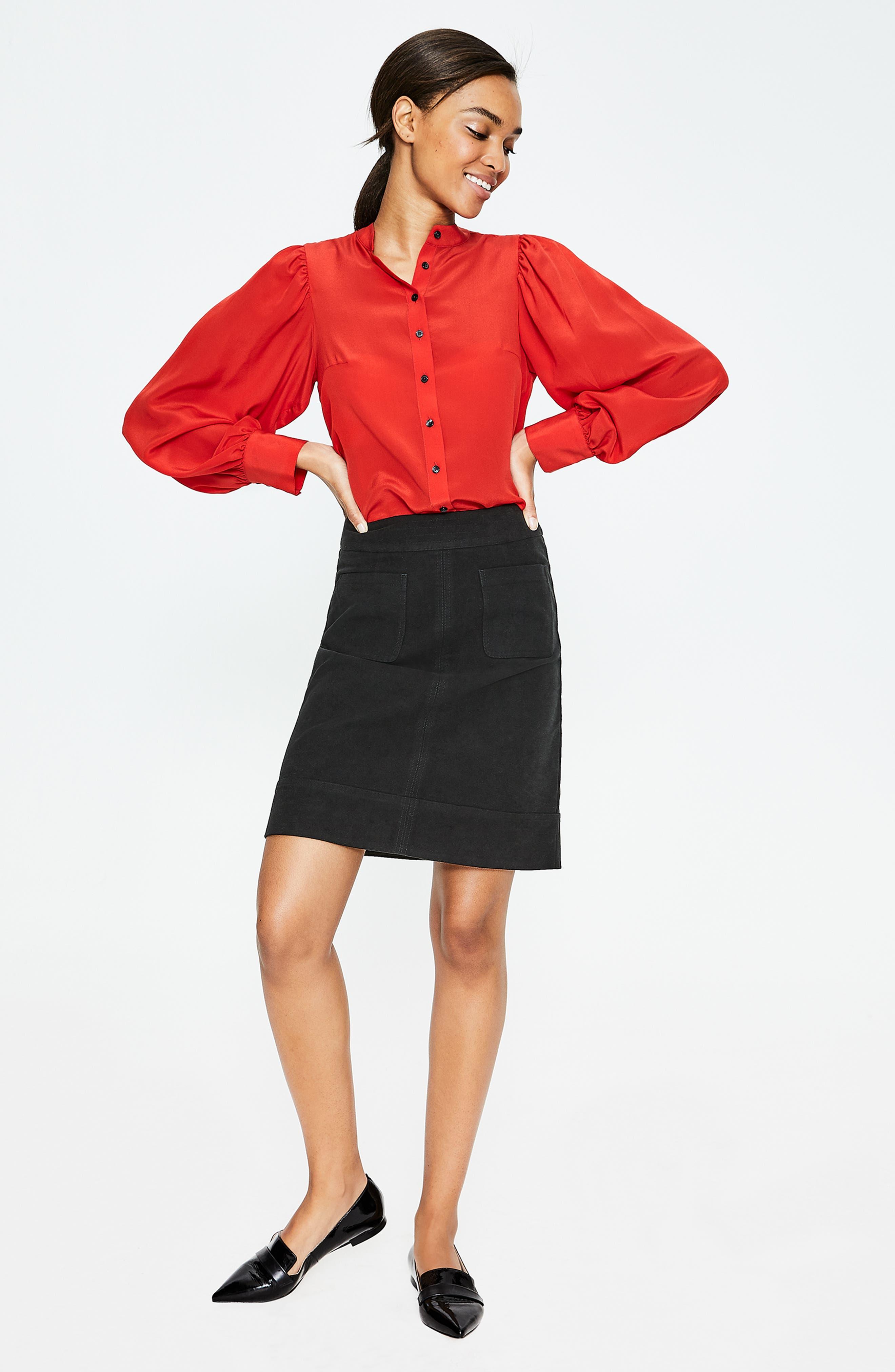 BODEN,                             Dorchester Patch Pocket Stretch Cotton Miniskirt,                             Alternate thumbnail 6, color,                             001
