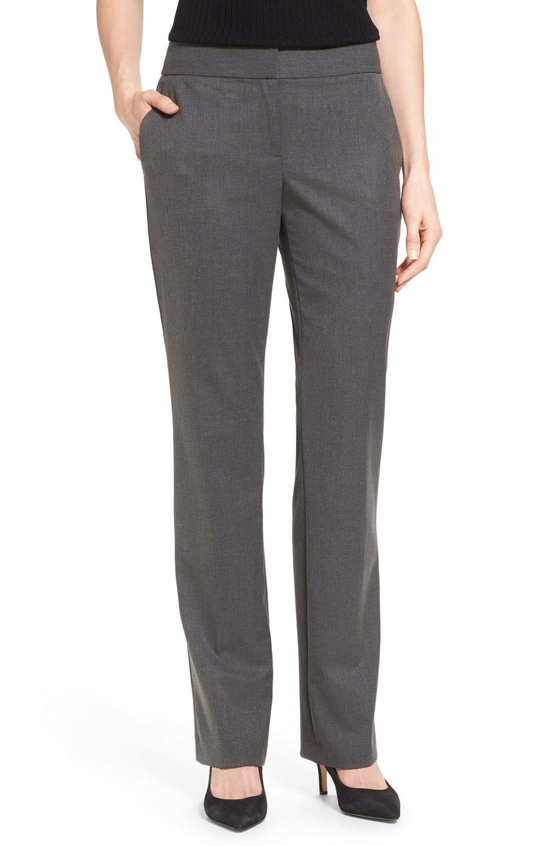 Straight Leg Pants,                         Main,                         color, DARK HEATHER GREY