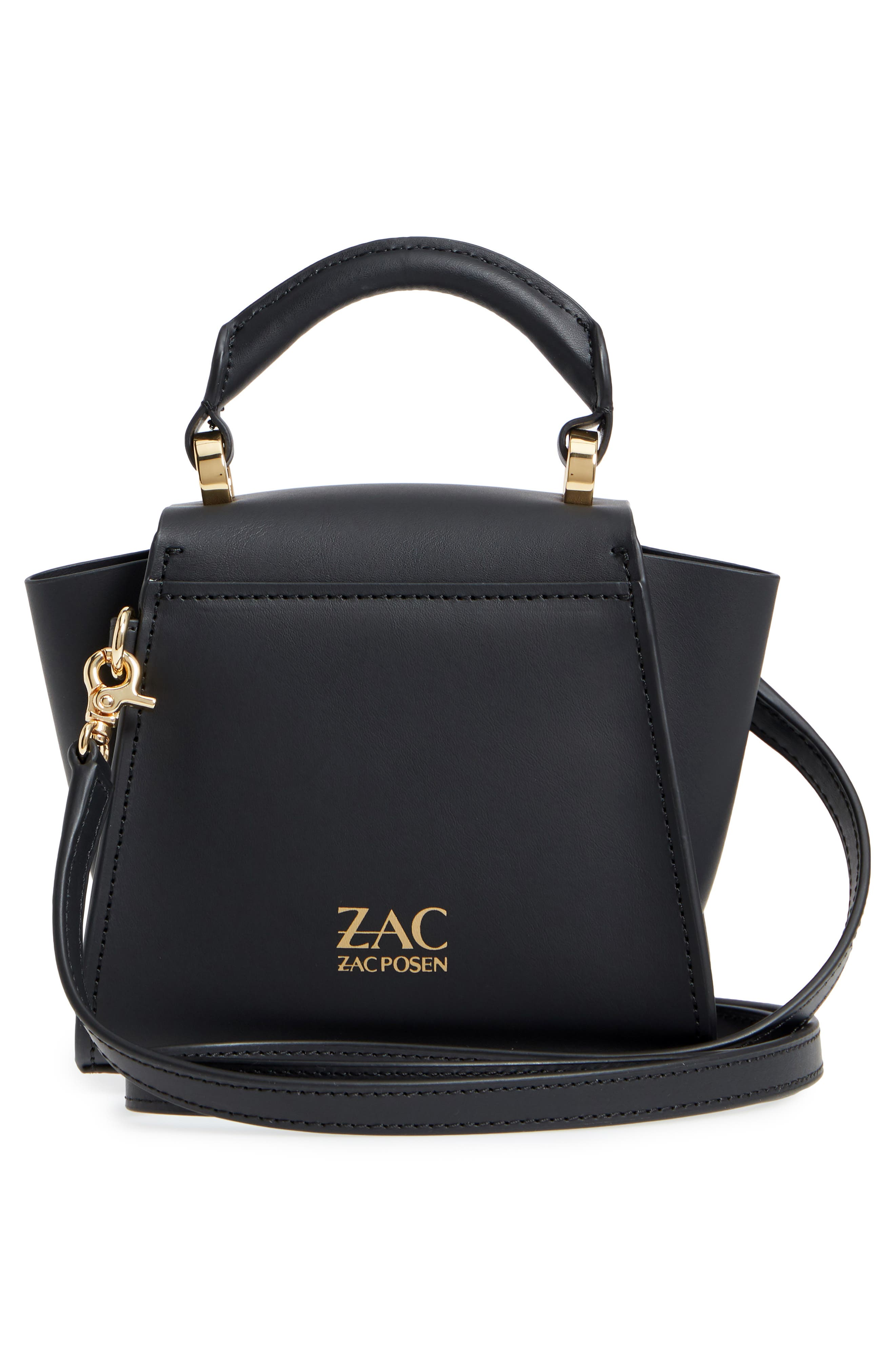 Mini Eartha Iconic Calfskin Leather Top Handle Satchel,                             Alternate thumbnail 3, color,                             BLACK