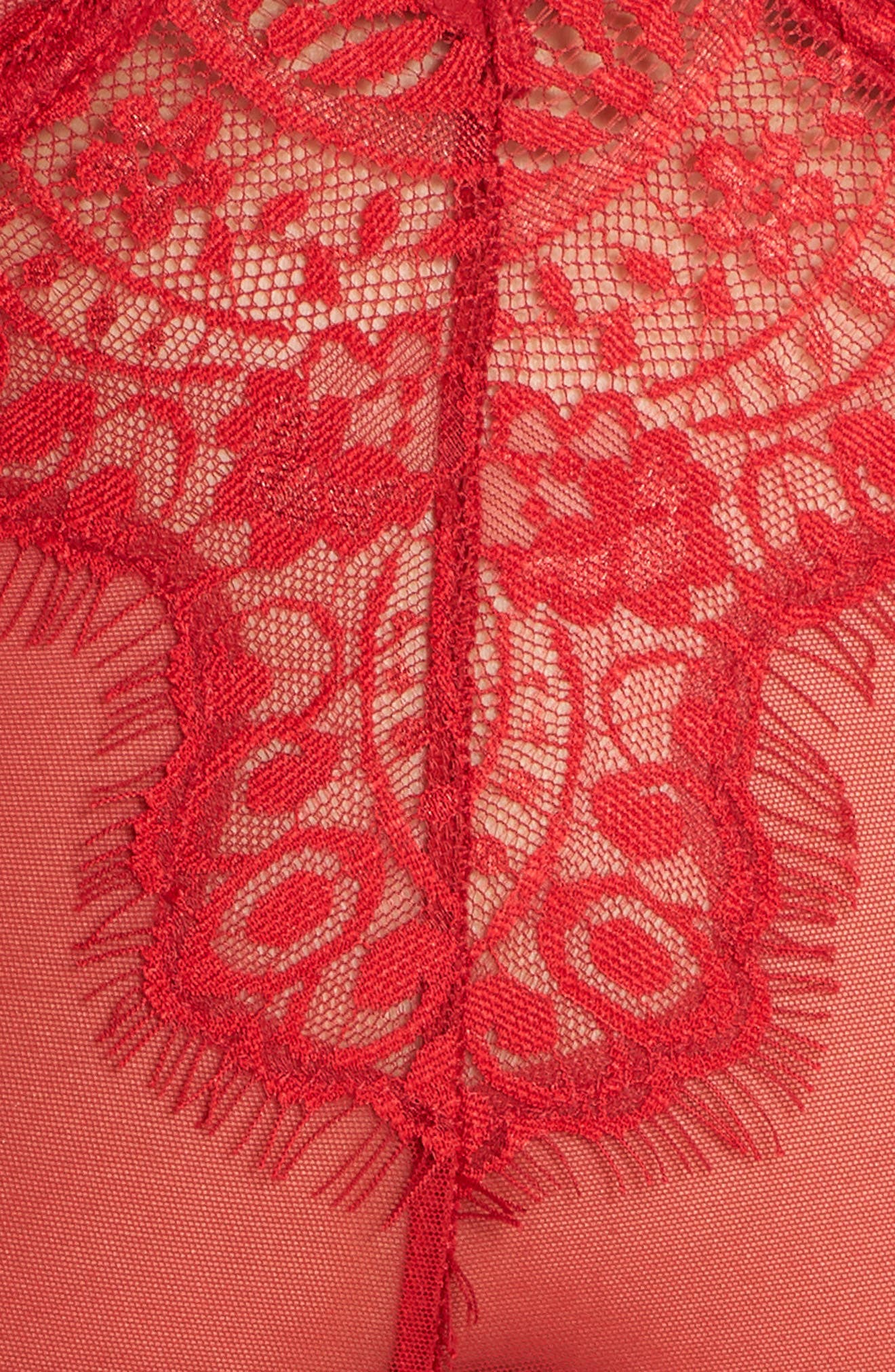 Eyelash Curves Lace Teddy,                             Alternate thumbnail 5, color,                             RED