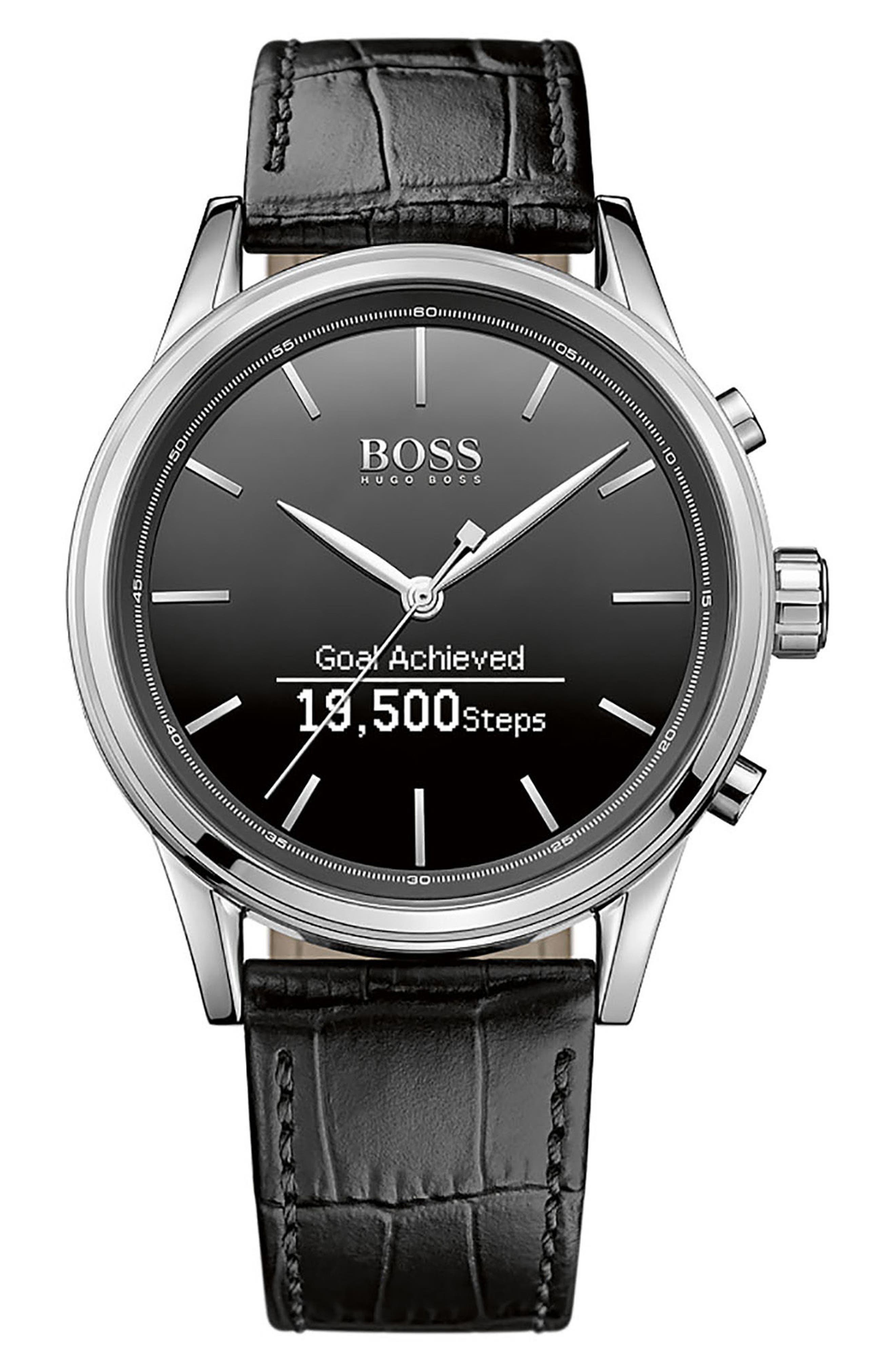 BOSS Classic Leather Strap Smart Watch, 44mm,                         Main,                         color, 001