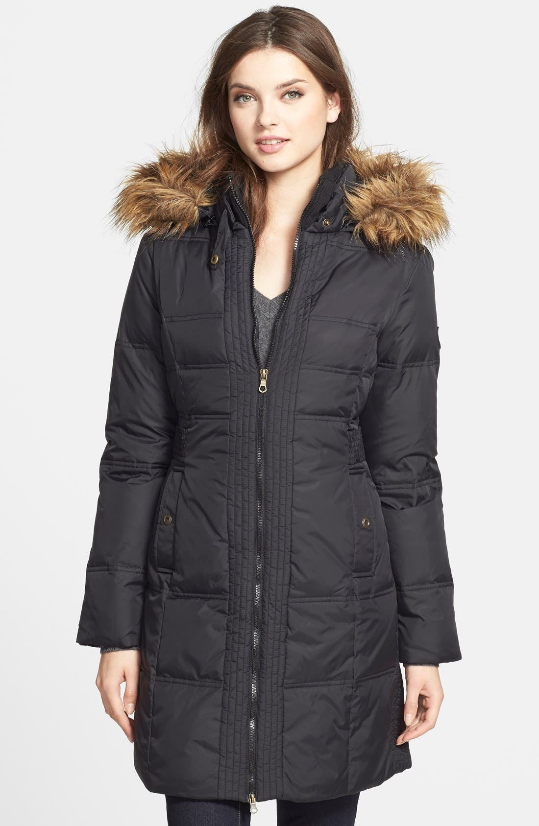 Faux Fur Trim Quilted Coat with Removable Hood,                             Main thumbnail 1, color,                             001