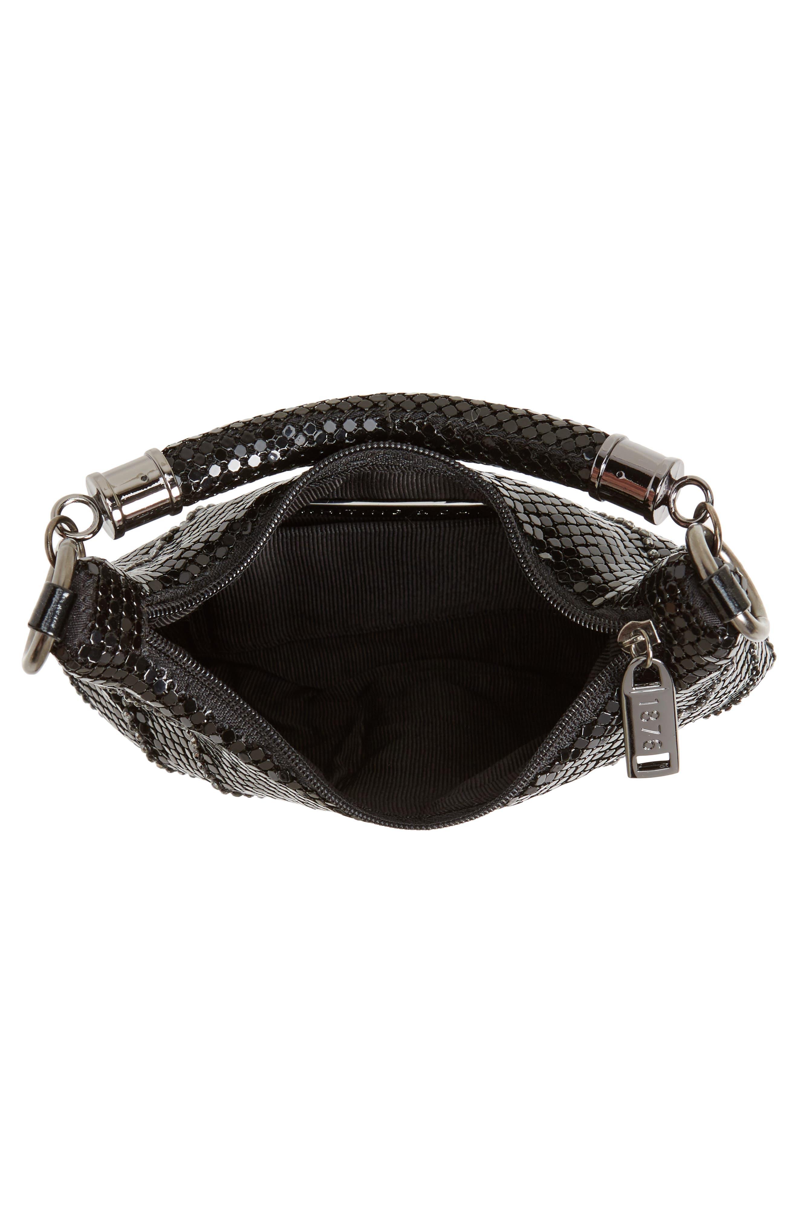 Little Black Mesh Shoulder Bag,                             Alternate thumbnail 4, color,                             BLACK