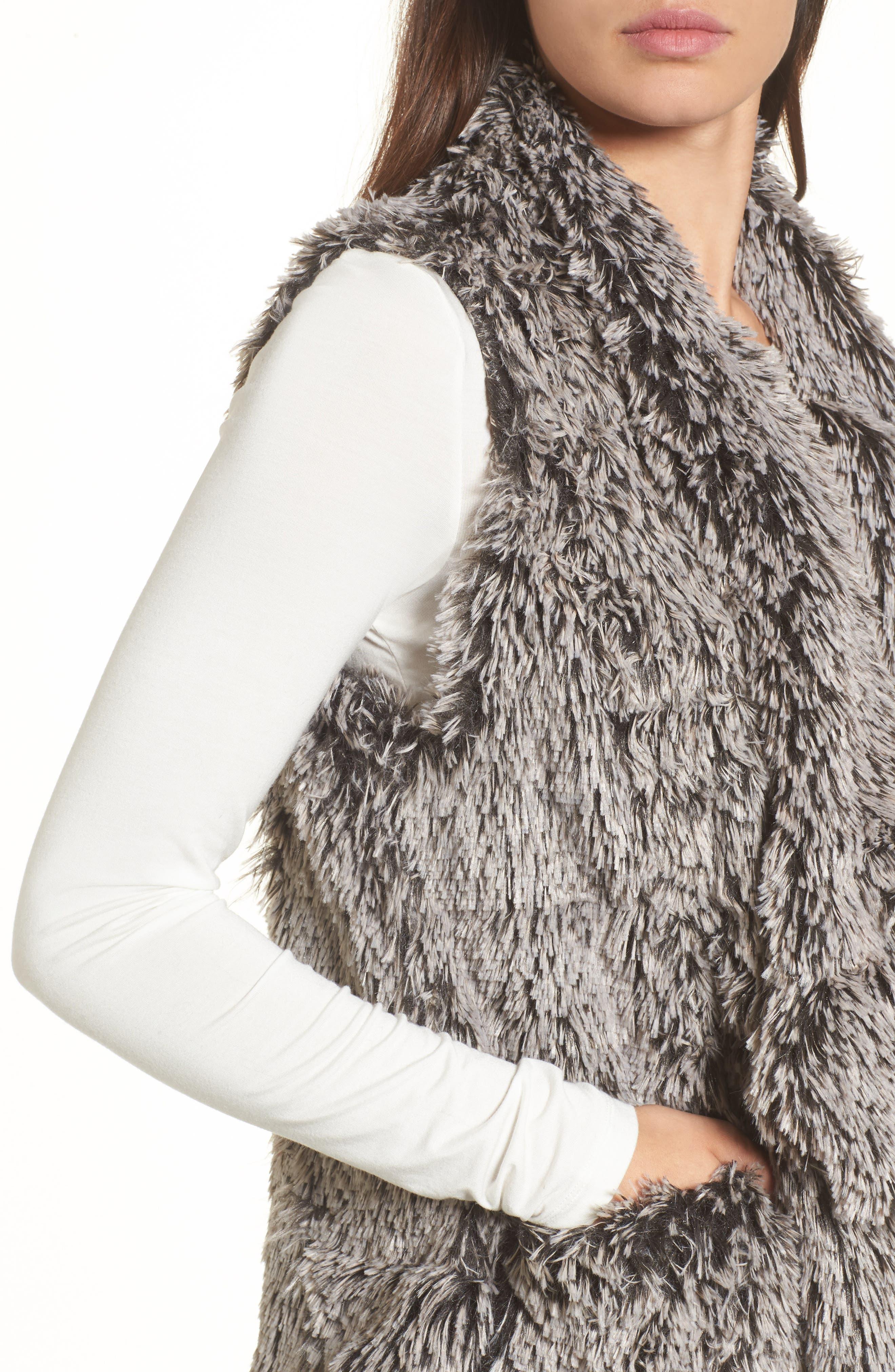 Faux Fur Drape Front Vest,                             Alternate thumbnail 4, color,                             020