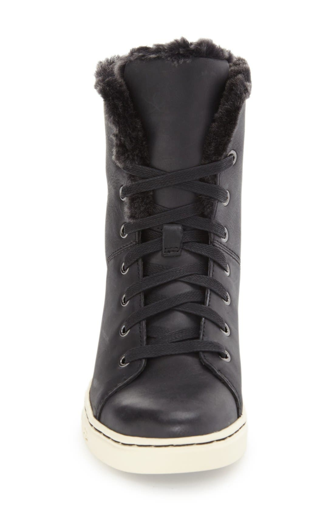 'Croft Luxe' Genuine Shearling High Top Sneaker,                             Alternate thumbnail 2, color,                             001