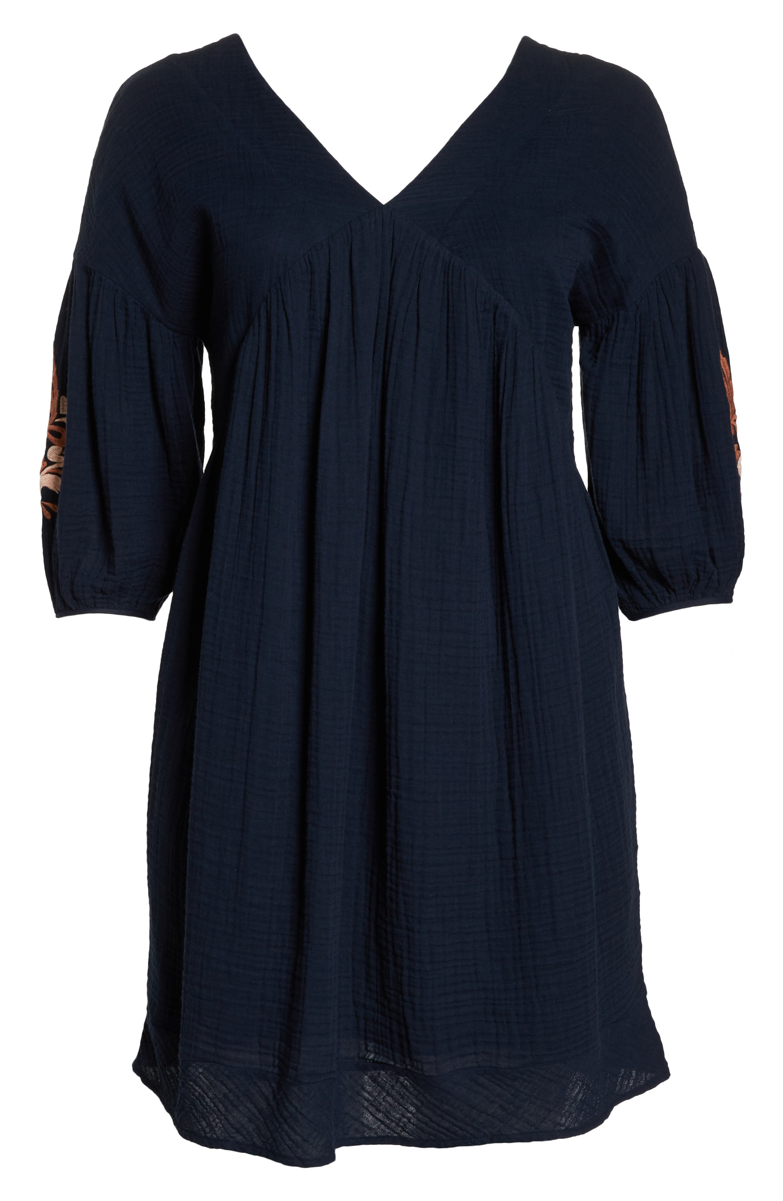 Embroidered Puff Sleeve Dress,                             Alternate thumbnail 7, color,                             NAVY ELLERY EMB