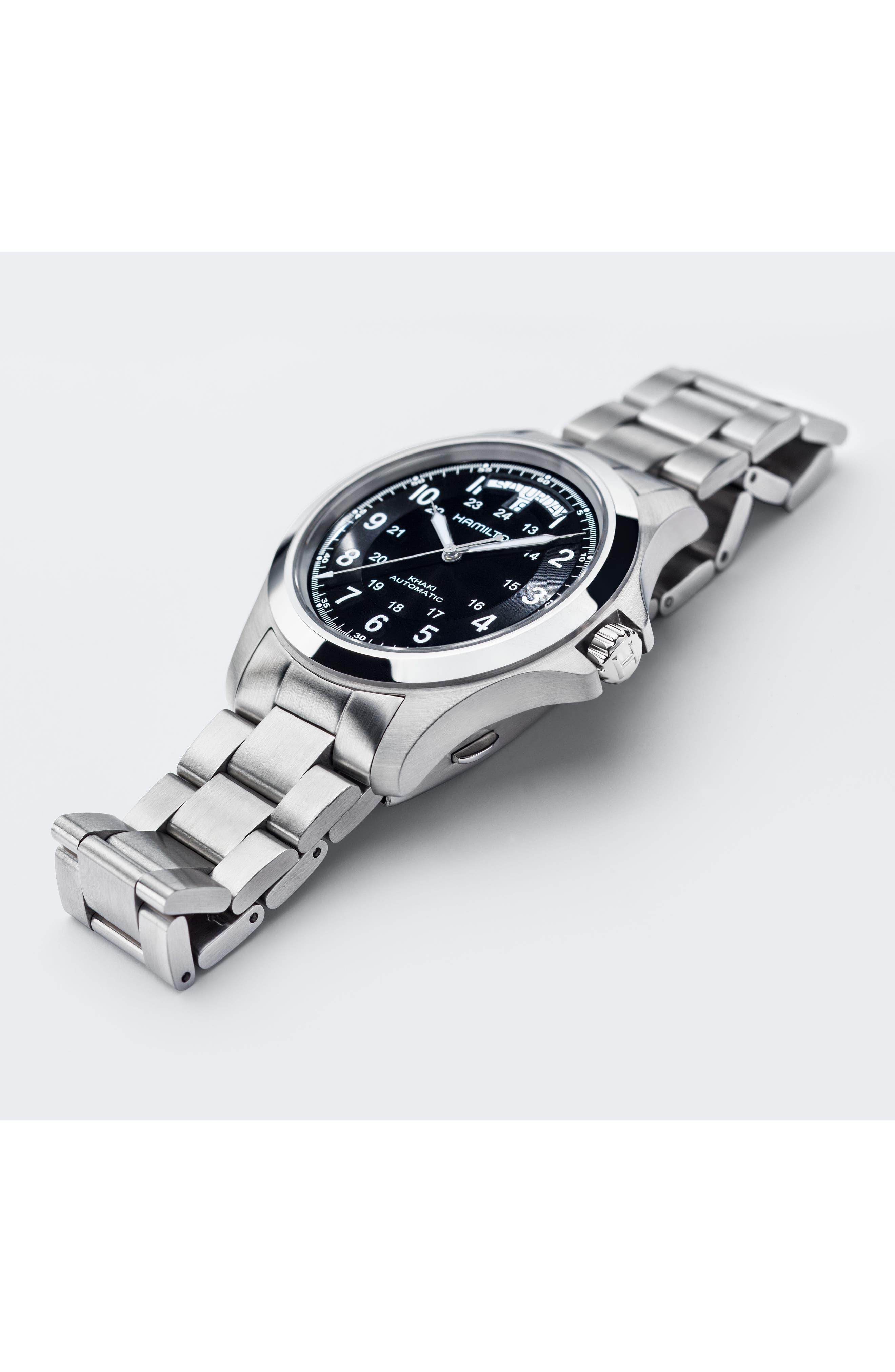 Khaki Field King Automatic Bracelet Watch, 40mm,                             Alternate thumbnail 4, color,                             SILVER/ BLACK/ SILVER