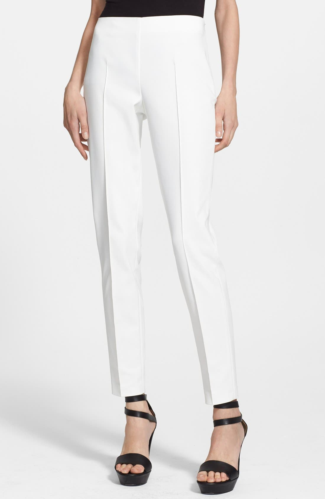 'Melissa' Slim Techno Cotton Pants,                             Main thumbnail 1, color,                             OFF WHITE