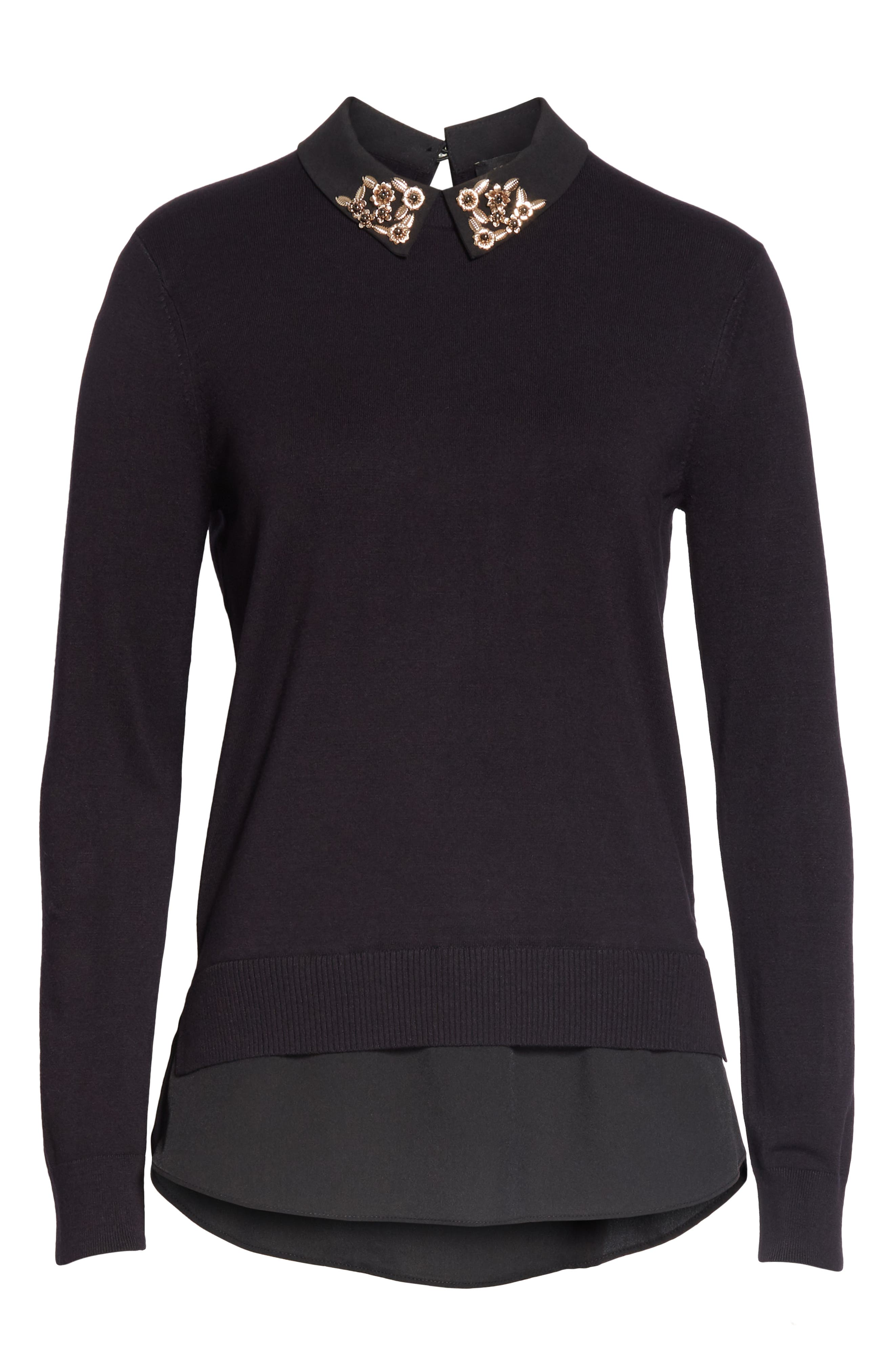 Moliiee Embroidered Collar Sweater,                             Alternate thumbnail 6, color,                             BLACK