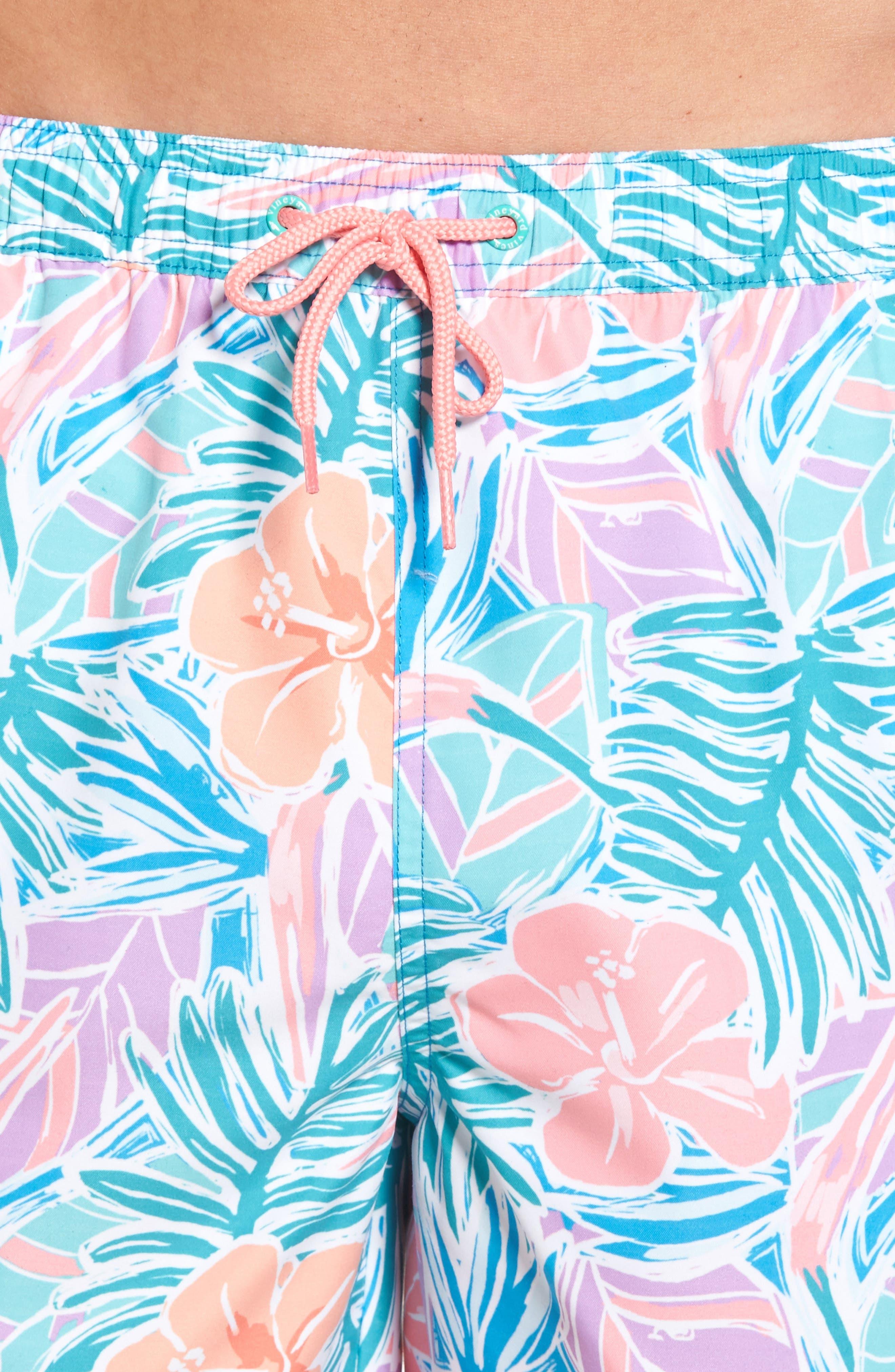 Chappy Gulf Tropical Print Swim Trunks,                             Alternate thumbnail 4, color,                             400