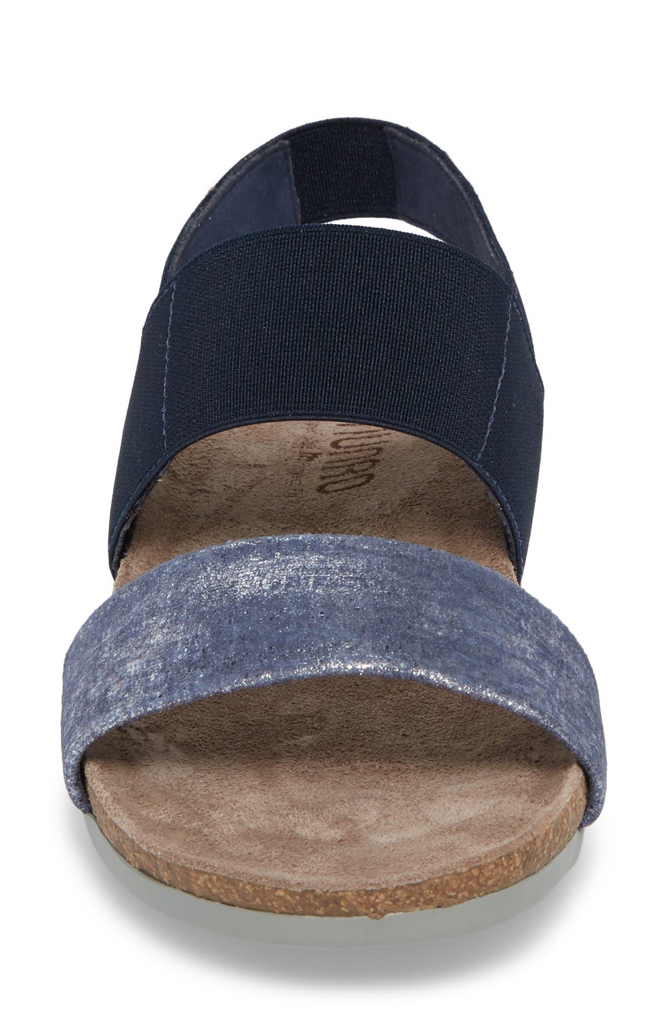'Pisces' Sandal,                             Alternate thumbnail 4, color,                             BLUE/ SILVER METALLIC