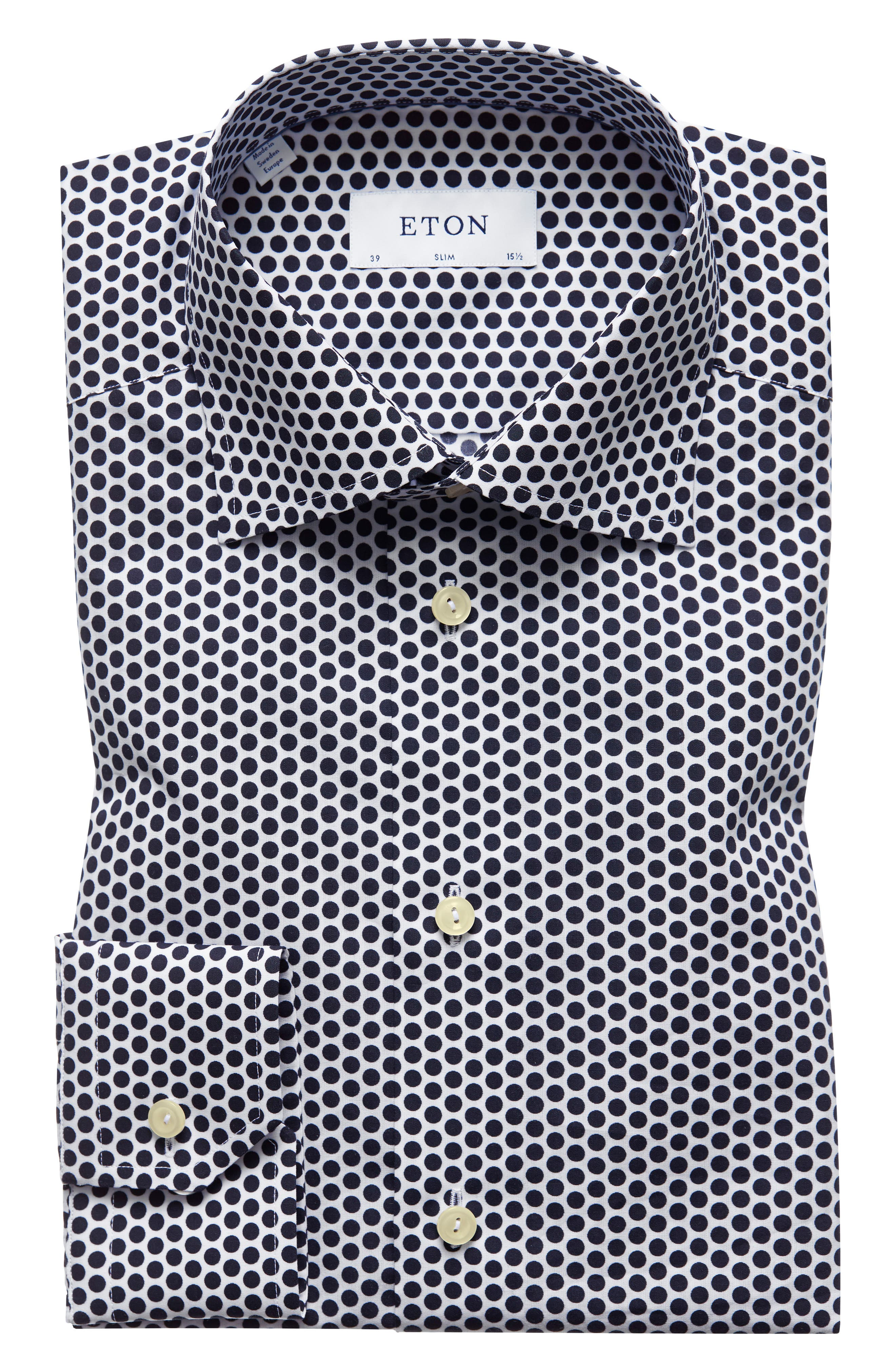 Slim Fit Dot Dress Shirt,                         Main,                         color, 001