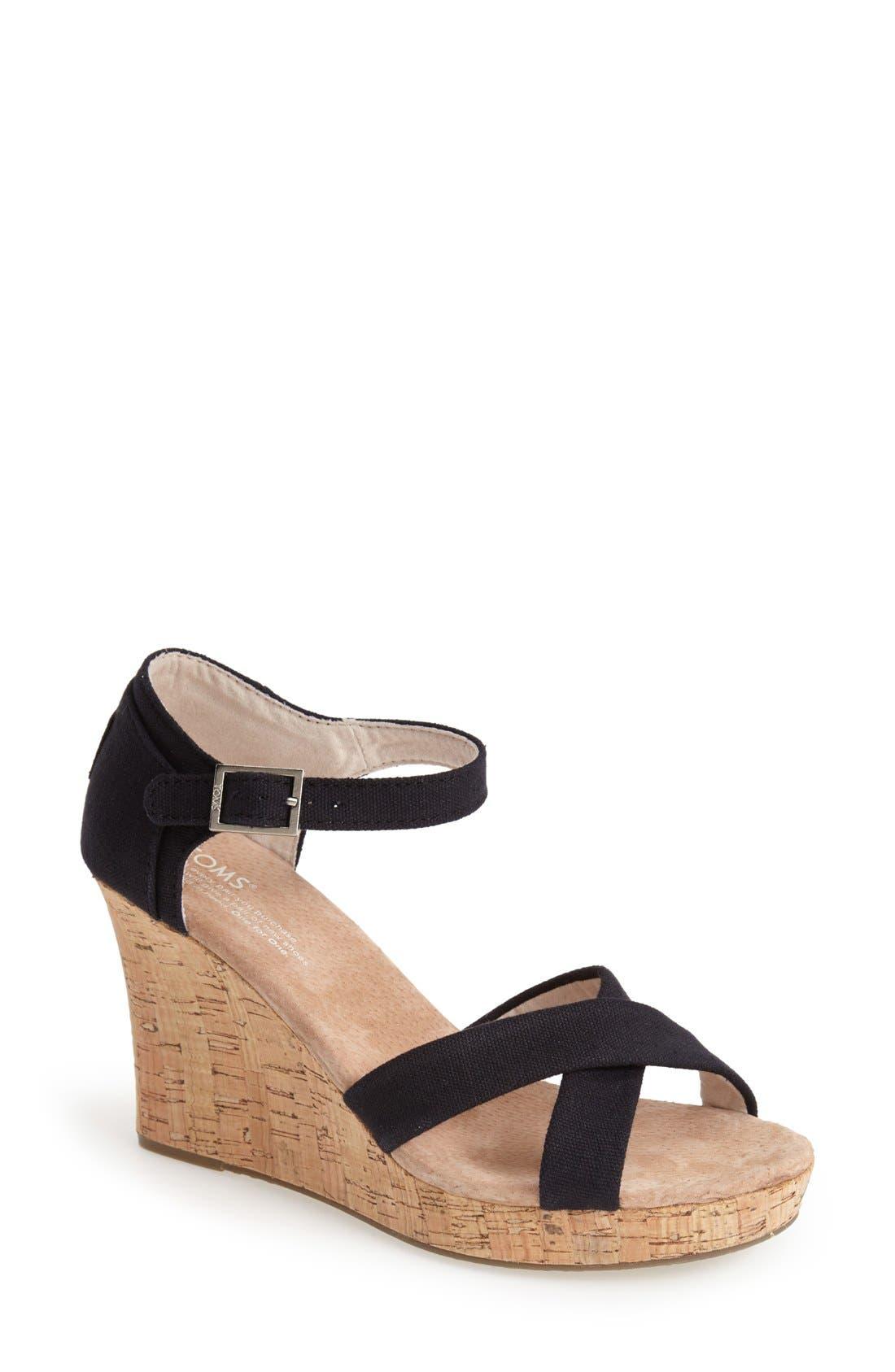 Canvas Ankle Strap Wedge Sandal,                         Main,                         color, 001