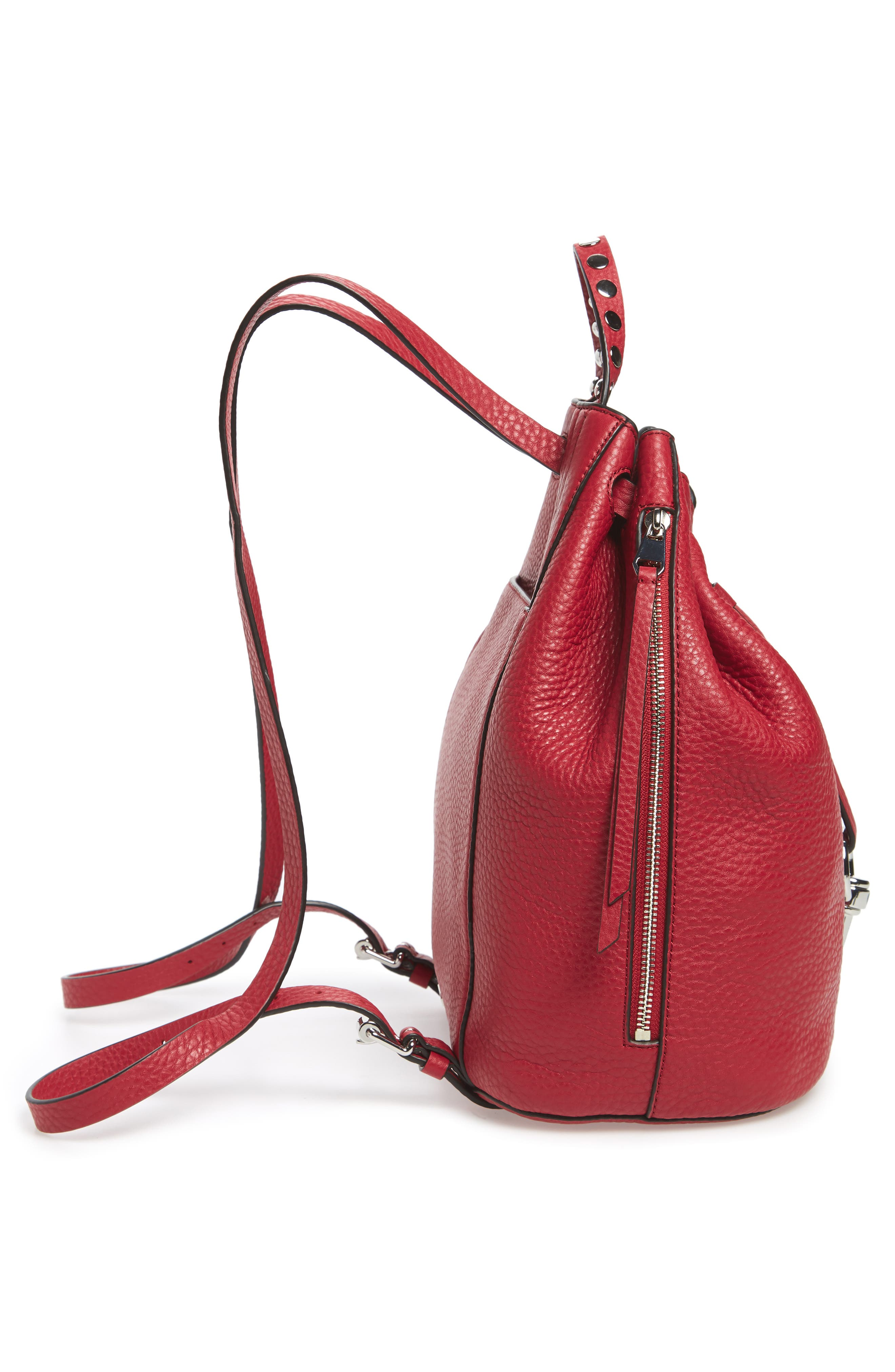 Blythe Leather Backpack,                             Alternate thumbnail 5, color,                             SCARLET