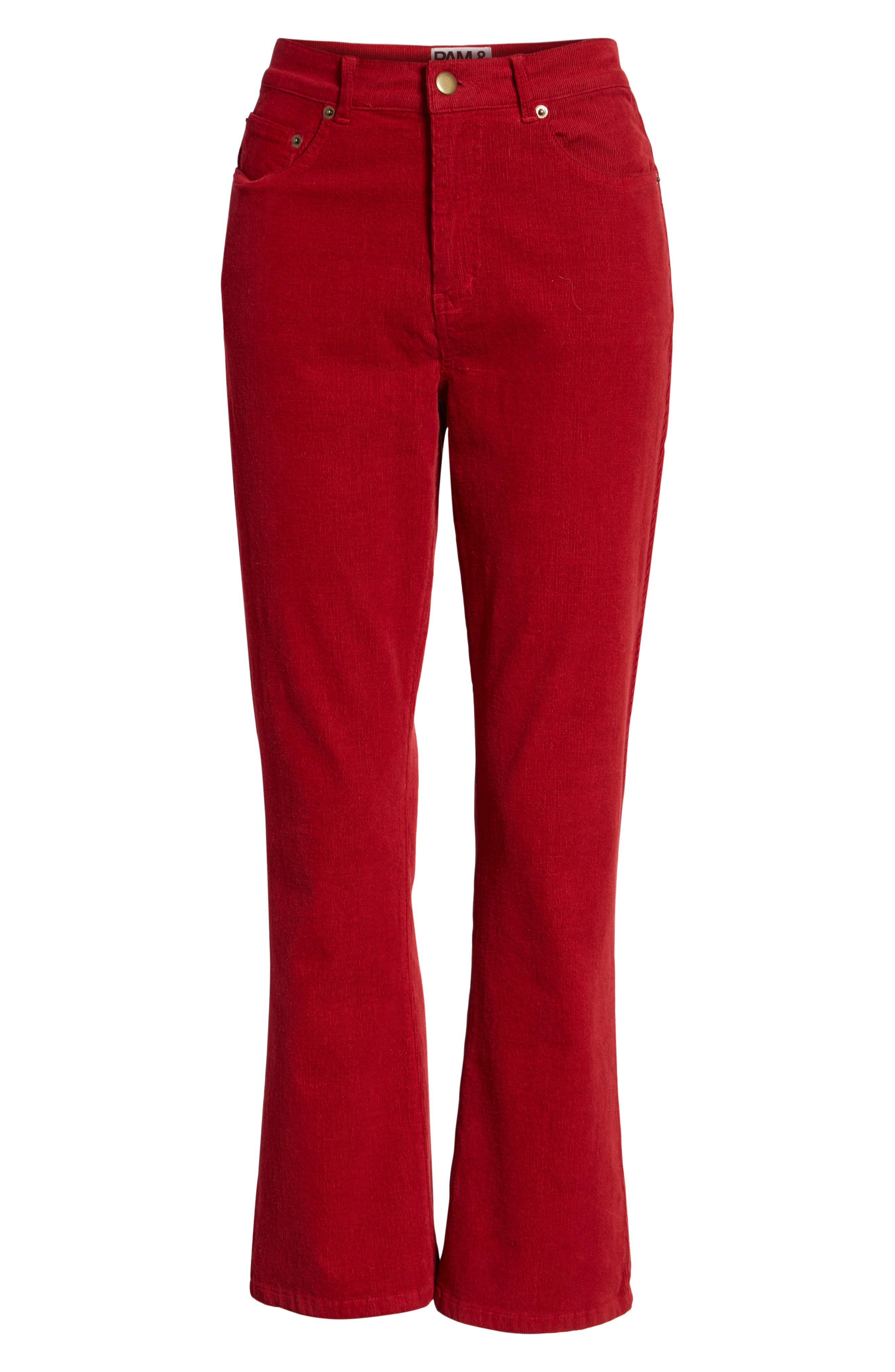 Corduroy Slim Crop Flare Pants,                             Alternate thumbnail 7, color,                             MINERAL RED