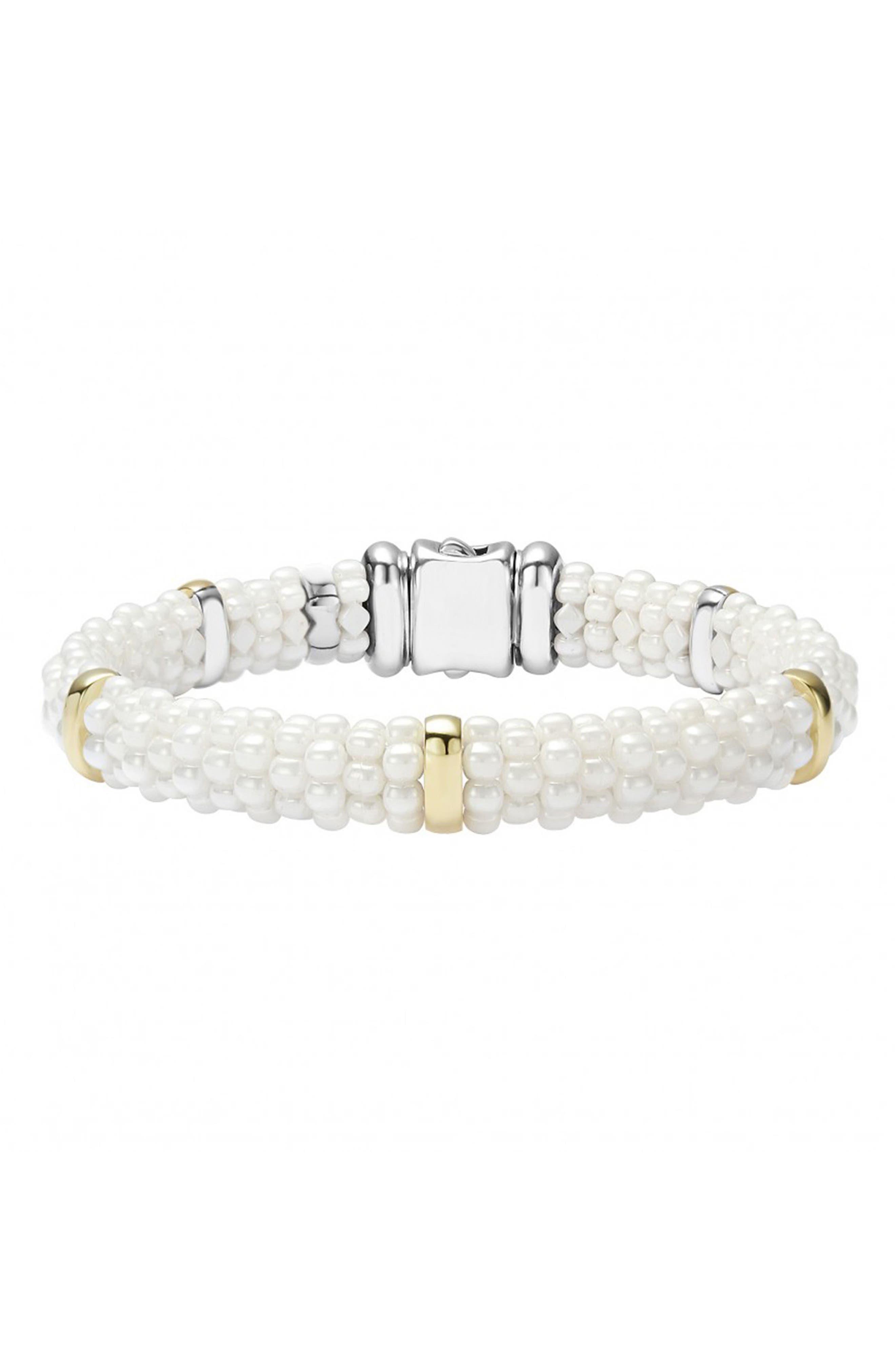 'White Caviar' Station Bracelet, Main, color, WHITE CAVIAR