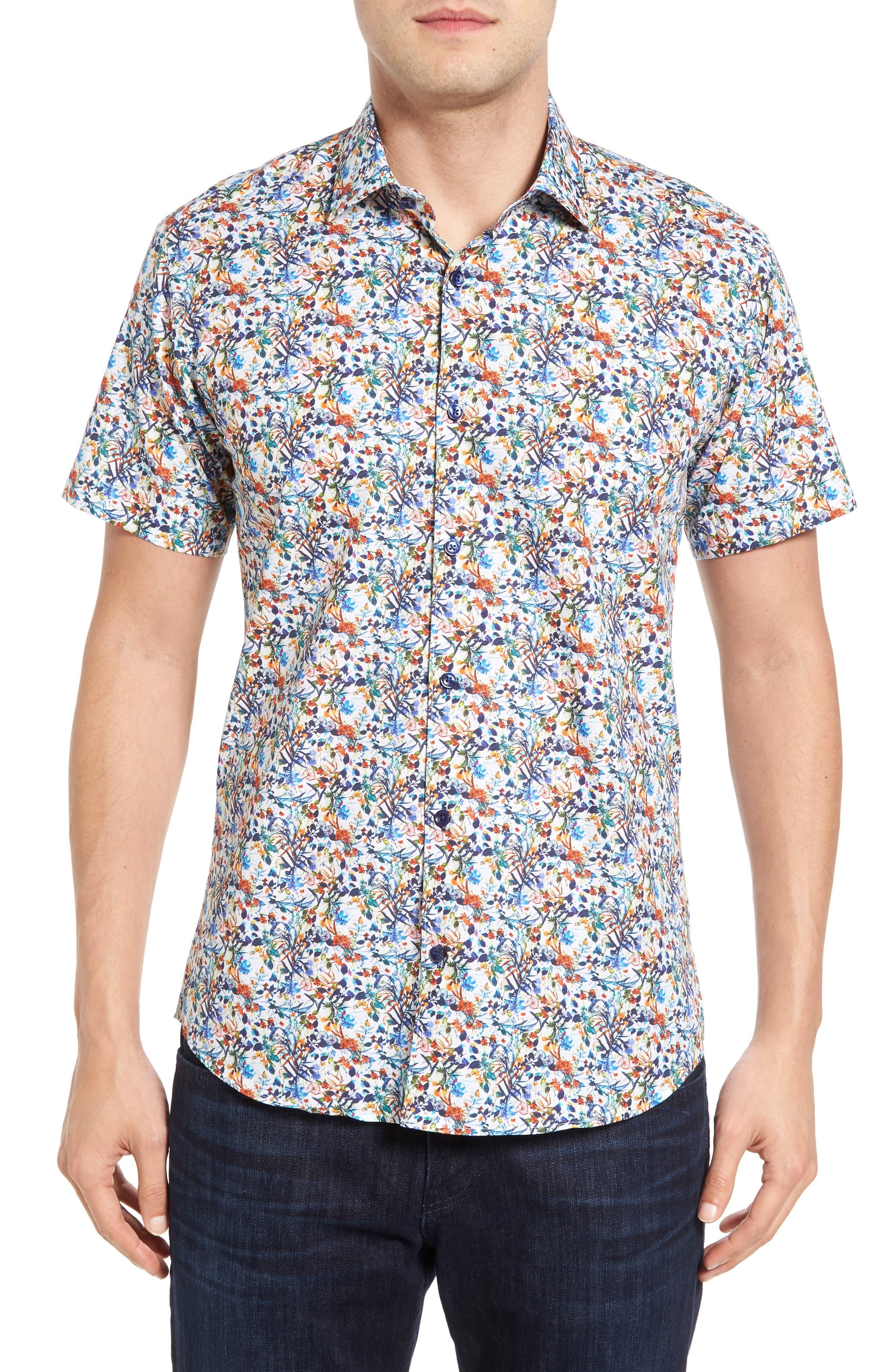 Trim Fit Floral Sport Shirt,                         Main,                         color, 100