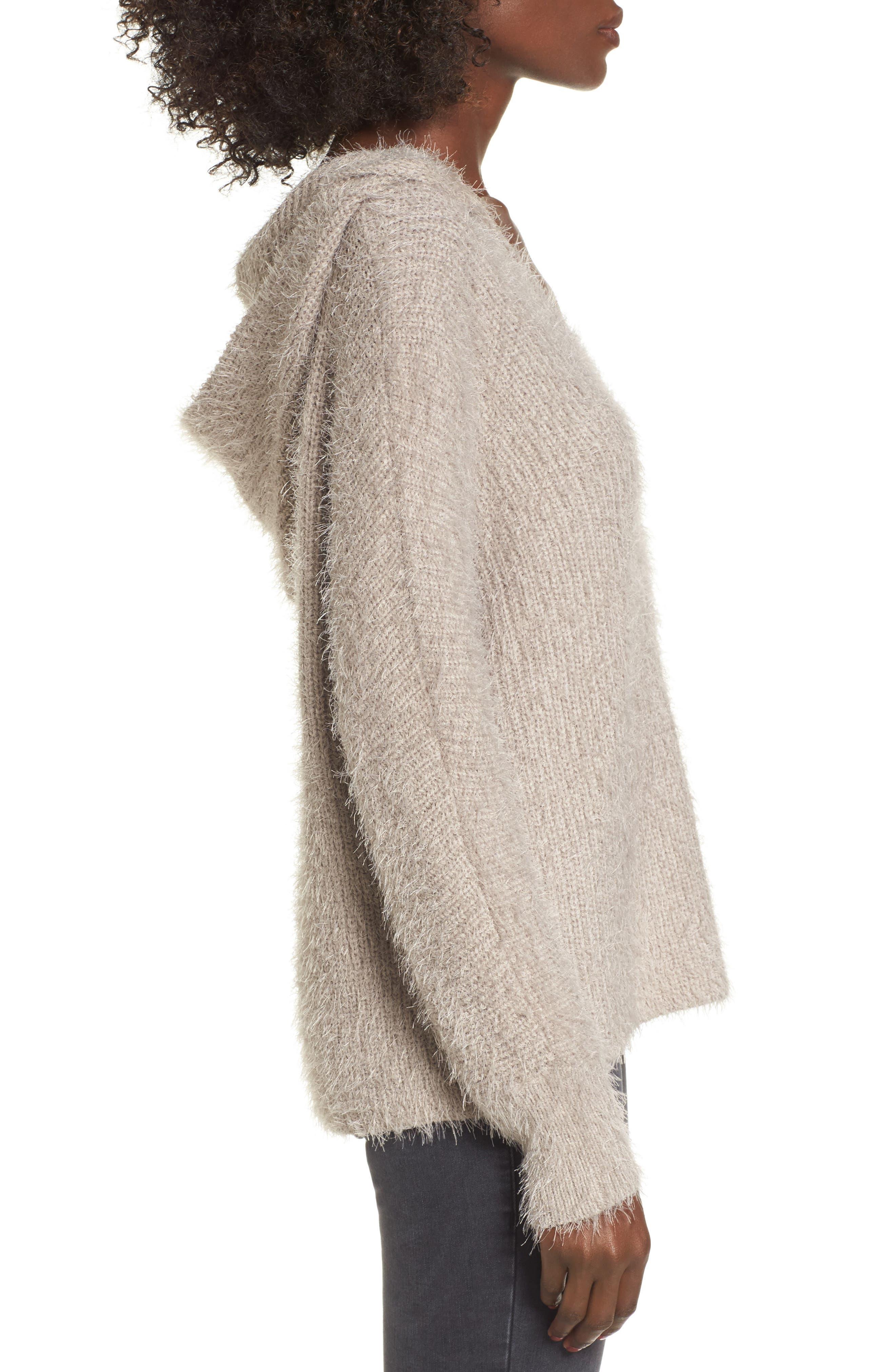 Eyelash Knit Hooded Sweater,                             Alternate thumbnail 3, color,