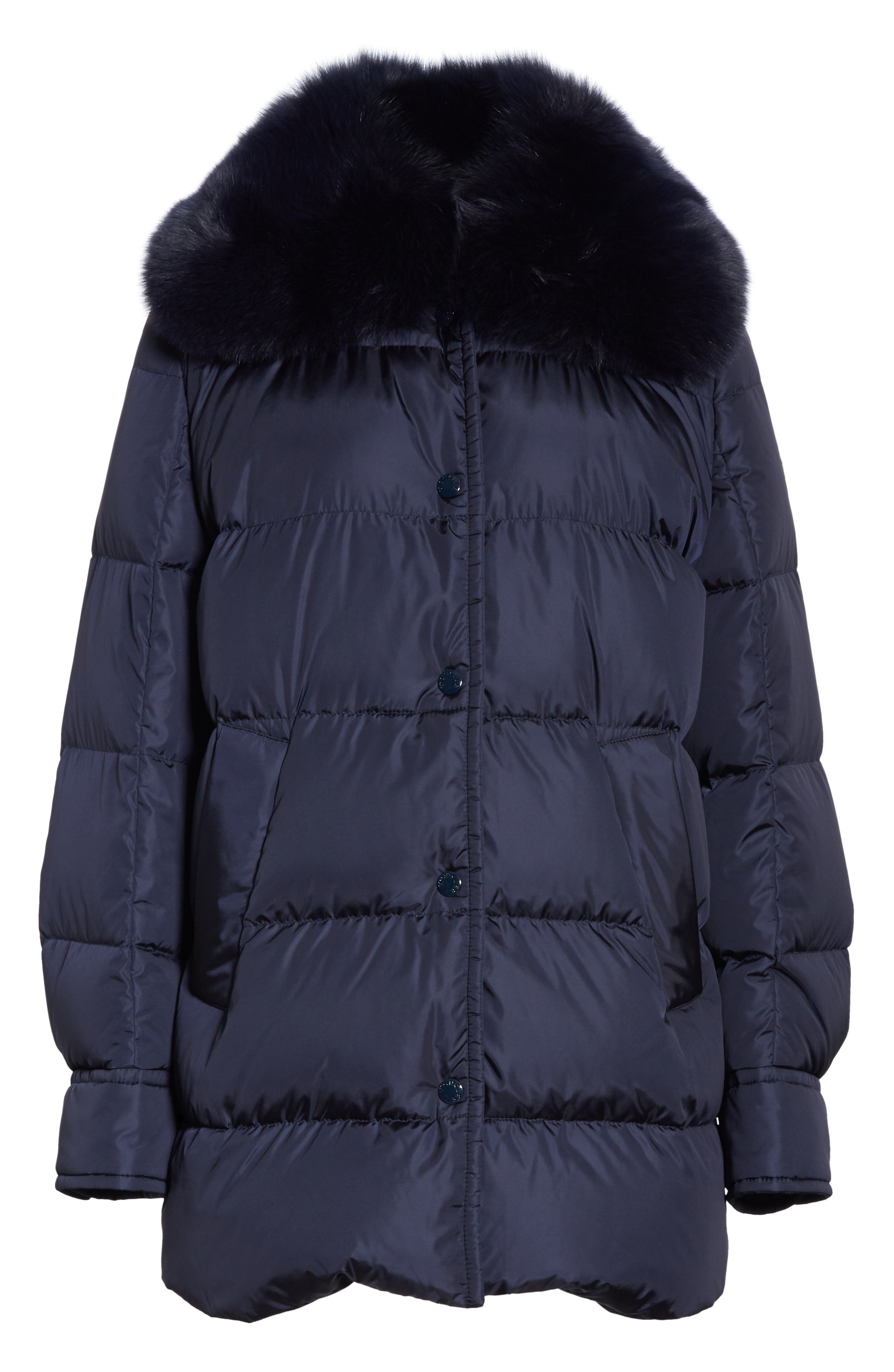 Mesange Quilted Down Coat with Removable Genuine Fox Fur Collar,                             Alternate thumbnail 5, color,                             NAVY