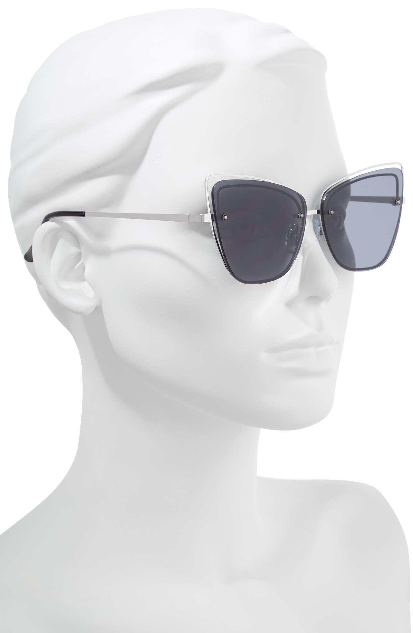 Dainty 53mm Rimless Cat Eye Sunglasses,                             Alternate thumbnail 2, color,                             SILVER/ BLACK