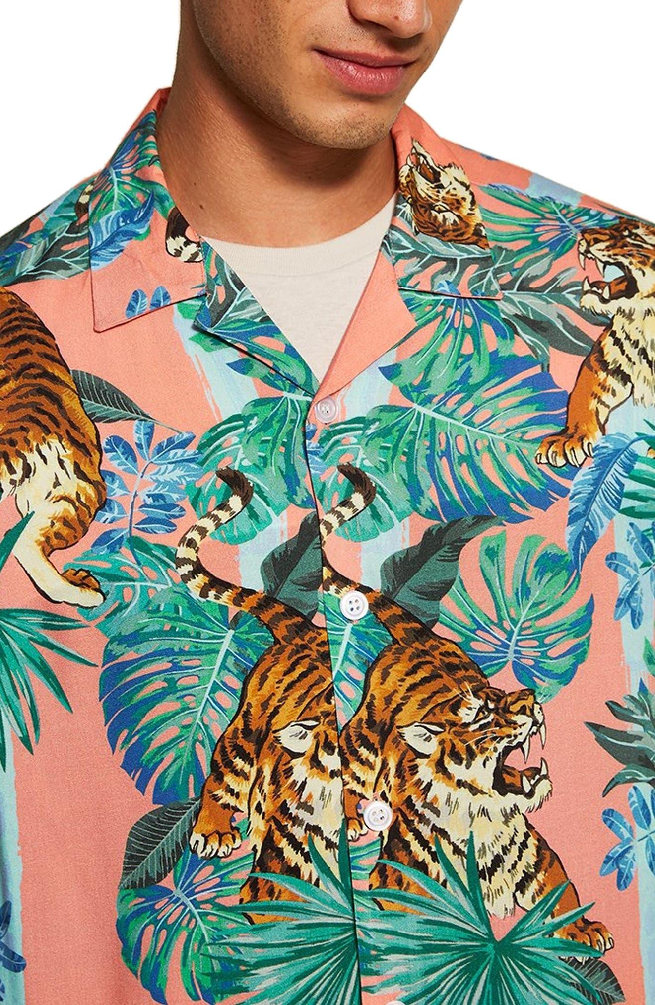 Tiger Print Shirt,                             Alternate thumbnail 2, color,                             PINK MULTI
