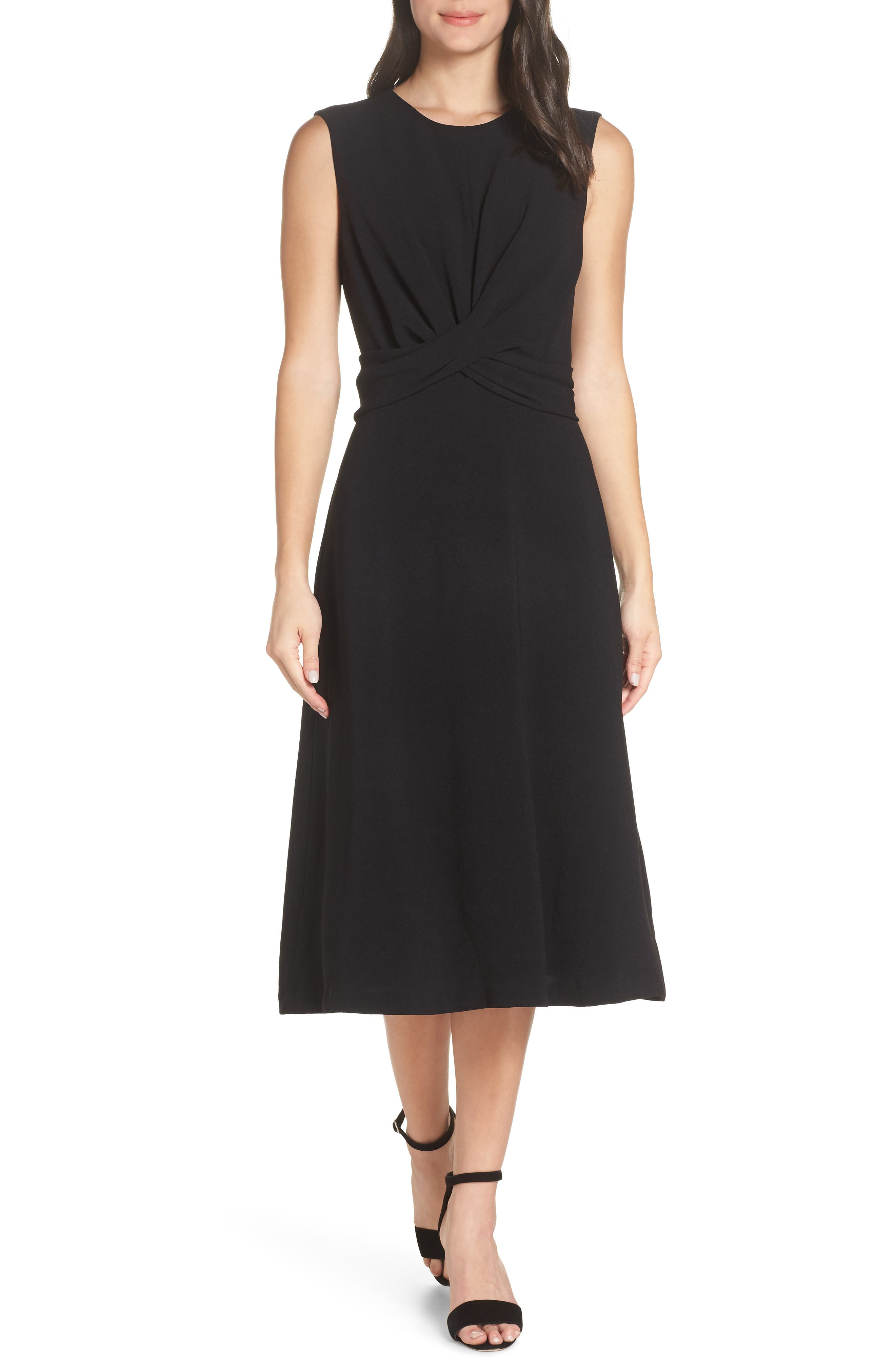 Sleeveless Cross Front Midi Dress, Main, color, BLACK