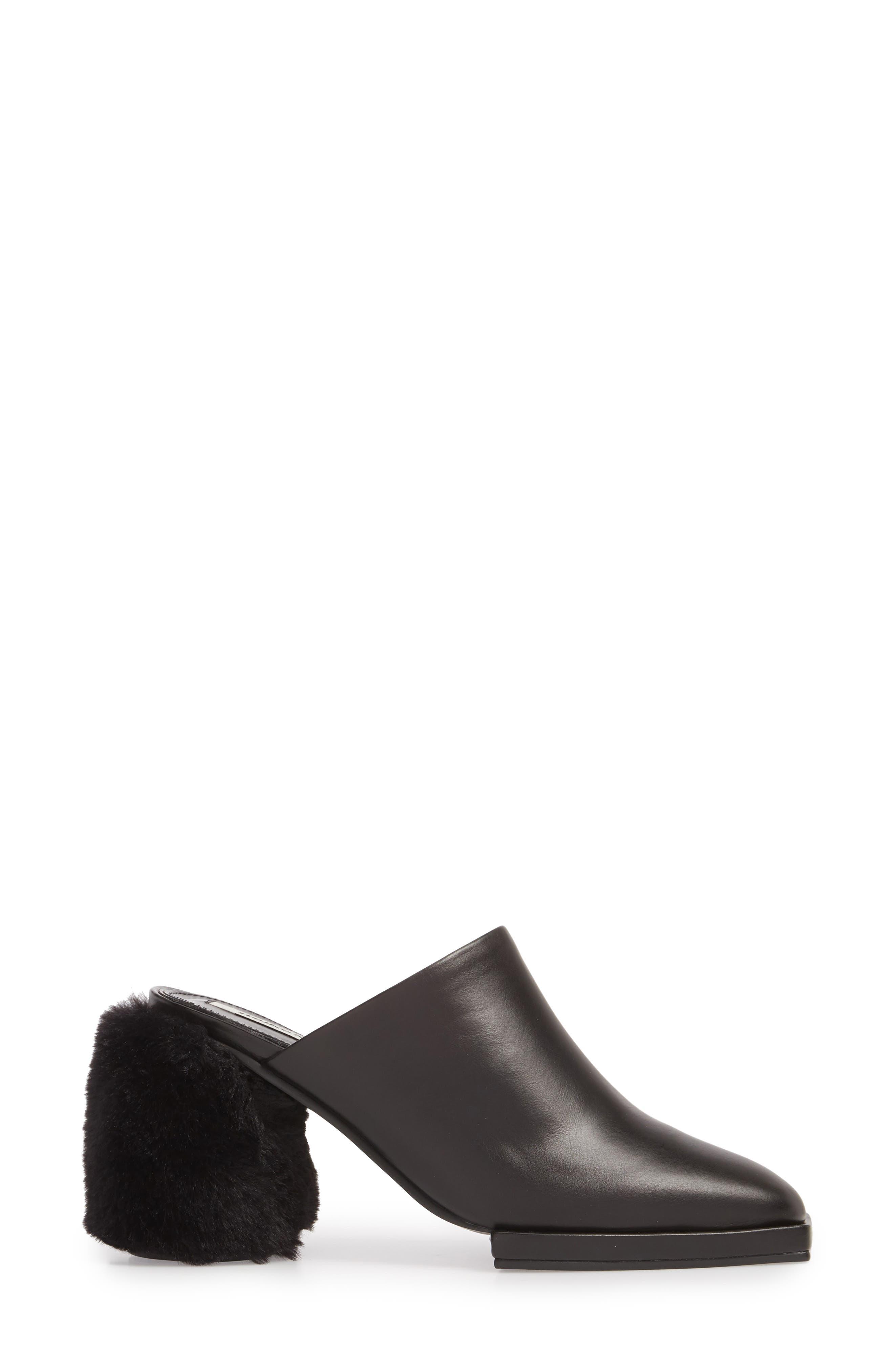 Faux Fur Block Heel Mule,                             Alternate thumbnail 3, color,                             BLACK