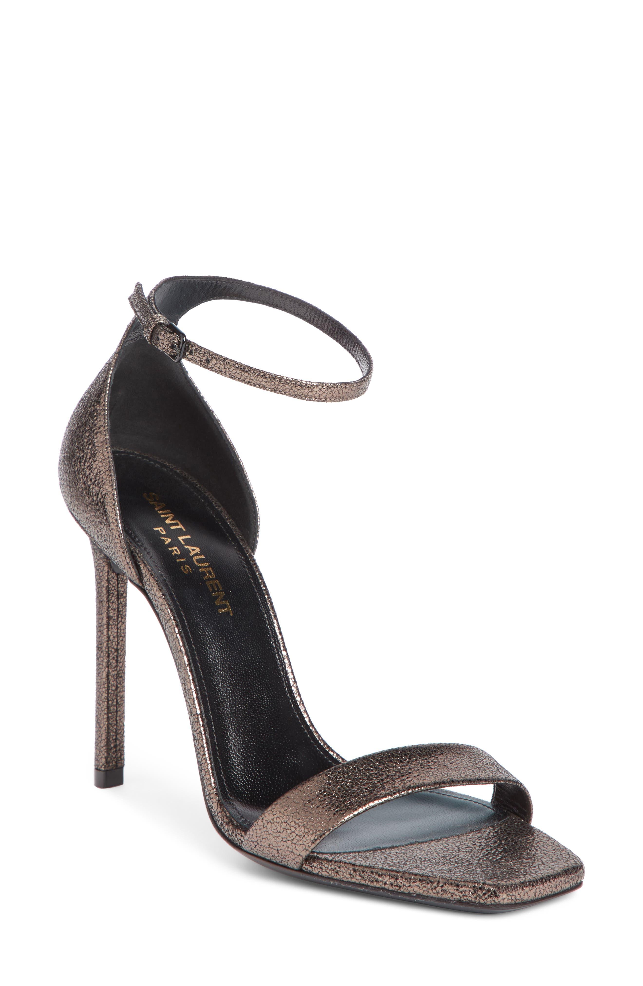 Amber Ankle Strap Sandal,                         Main,                         color, BLACK/ METALLIC