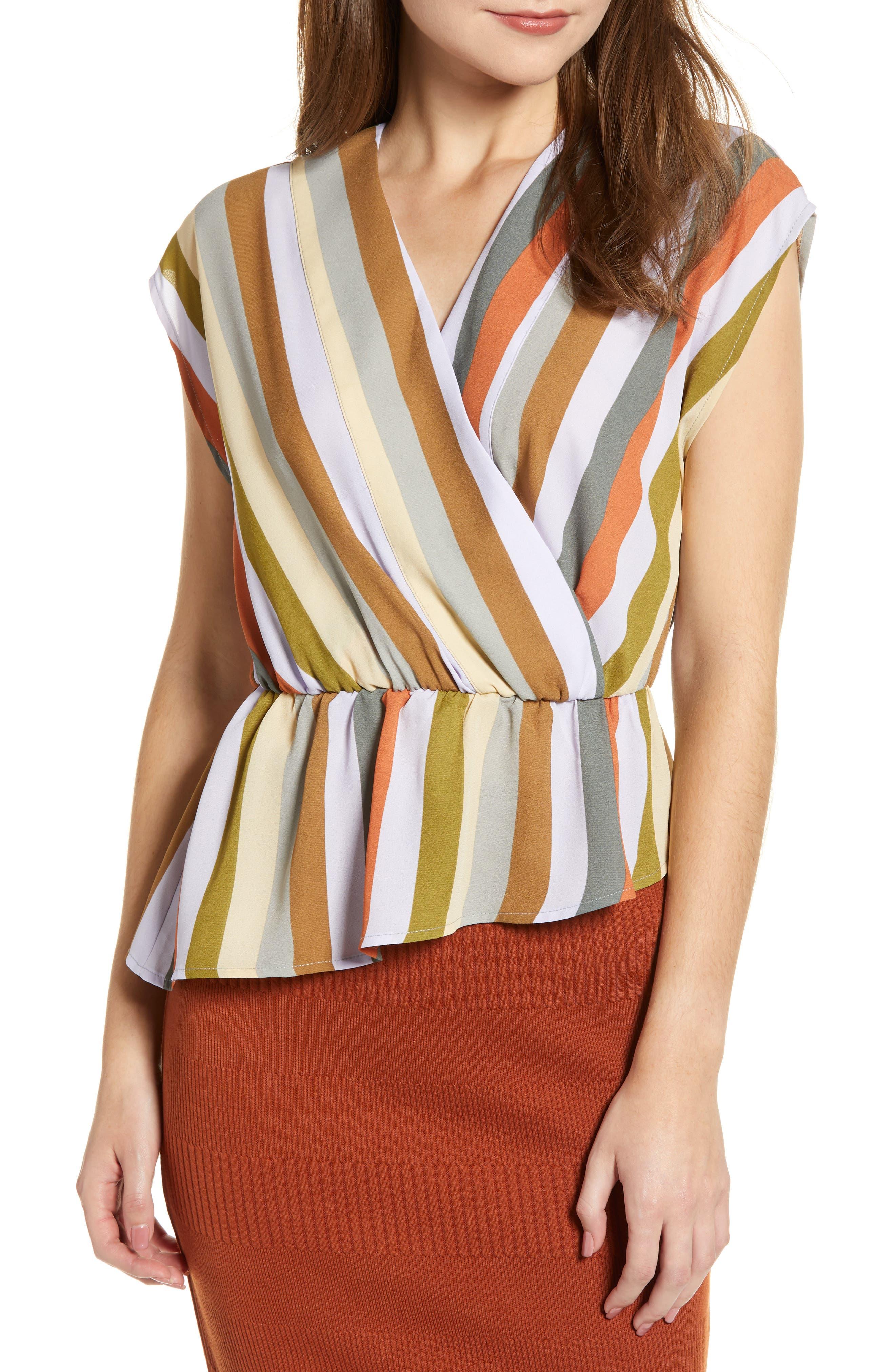 LEITH Wrap Style Blouse, Main, color, PURPLE FROST MULTI STRIPE