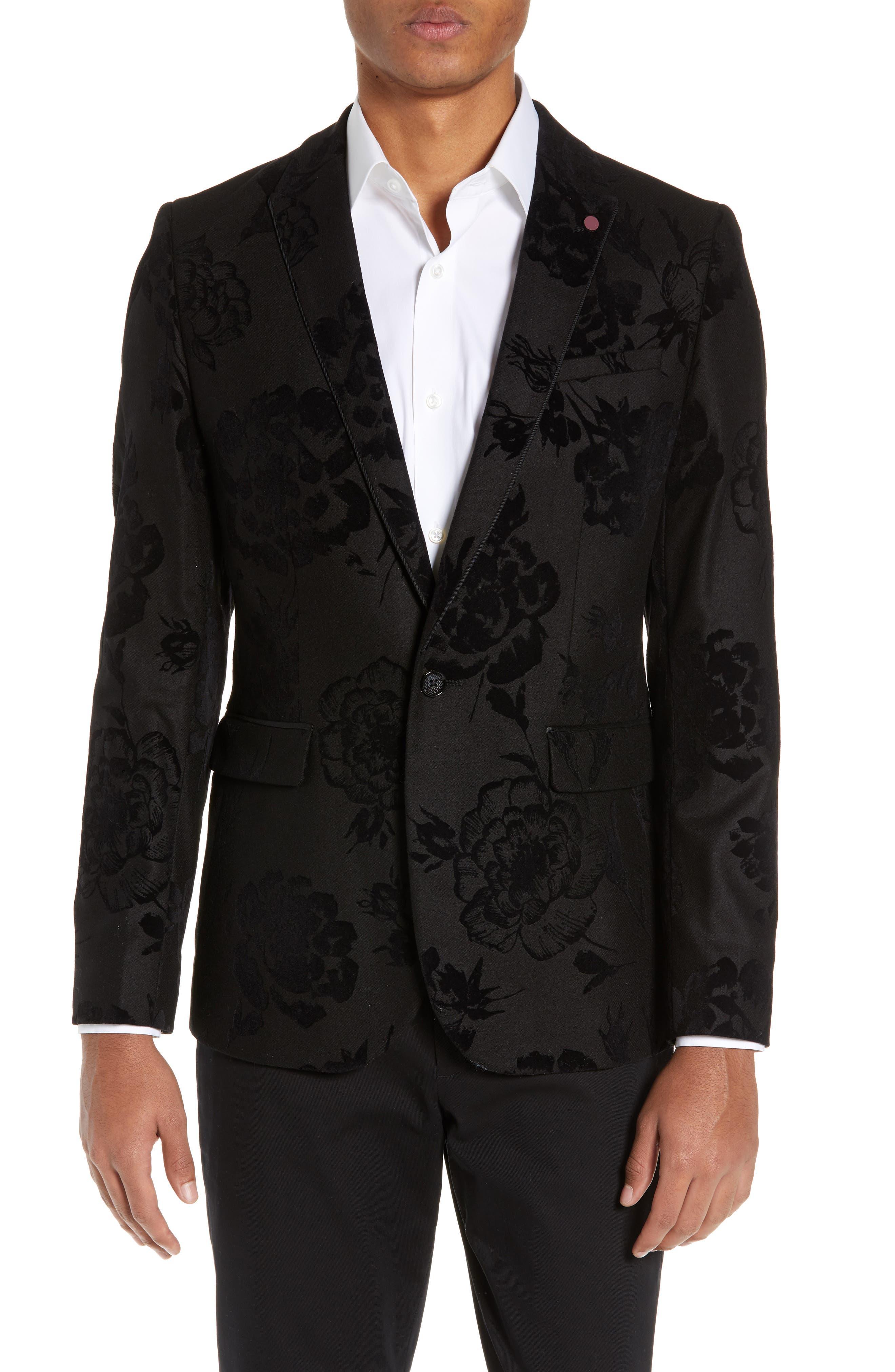 Sherman Trim Fit Flocked Velvet Dinner Jacket,                         Main,                         color, 001