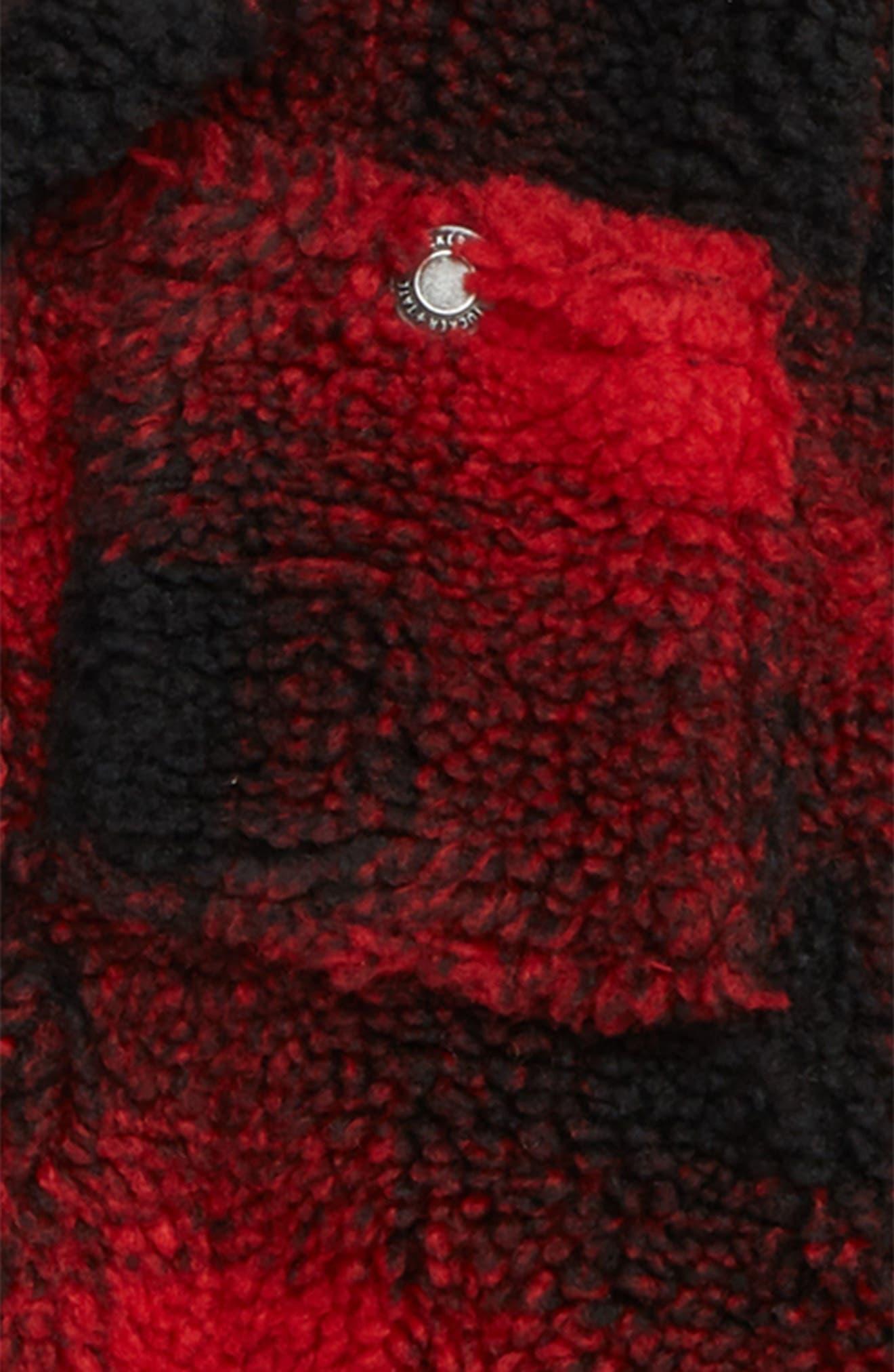 Plaid Fleece Hooded Jacket,                             Alternate thumbnail 2, color,                             RED RIBBON- BLACK SHADOW PLAID