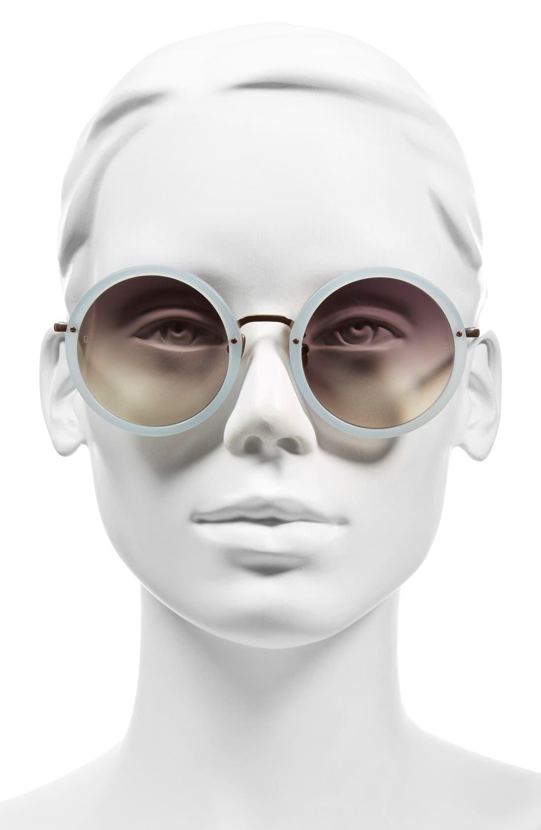 51mm Round 18 Karat Rose Gold Sunglasses,                             Alternate thumbnail 3, color,
